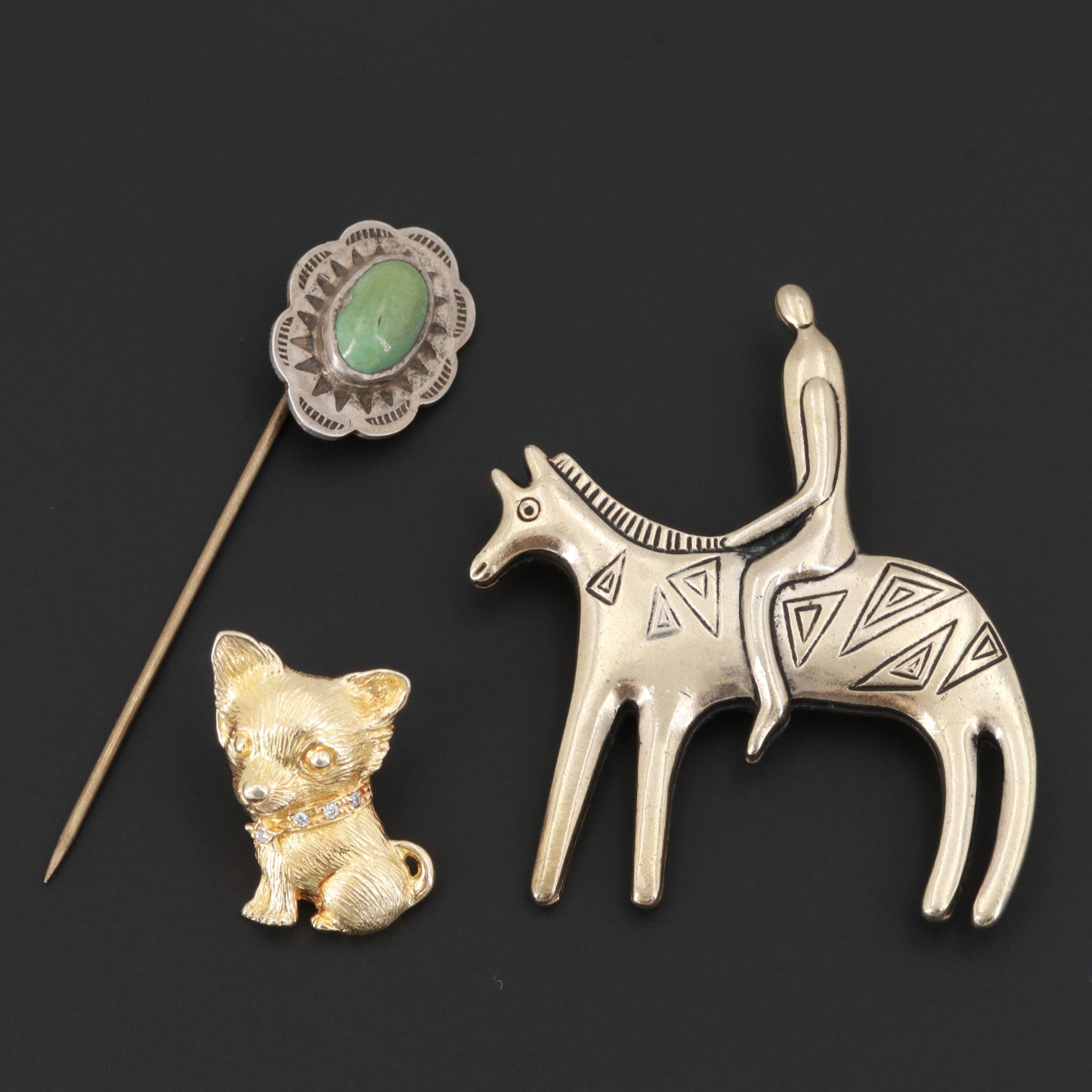 Brooch and Pins Including Sterling and Gemstones