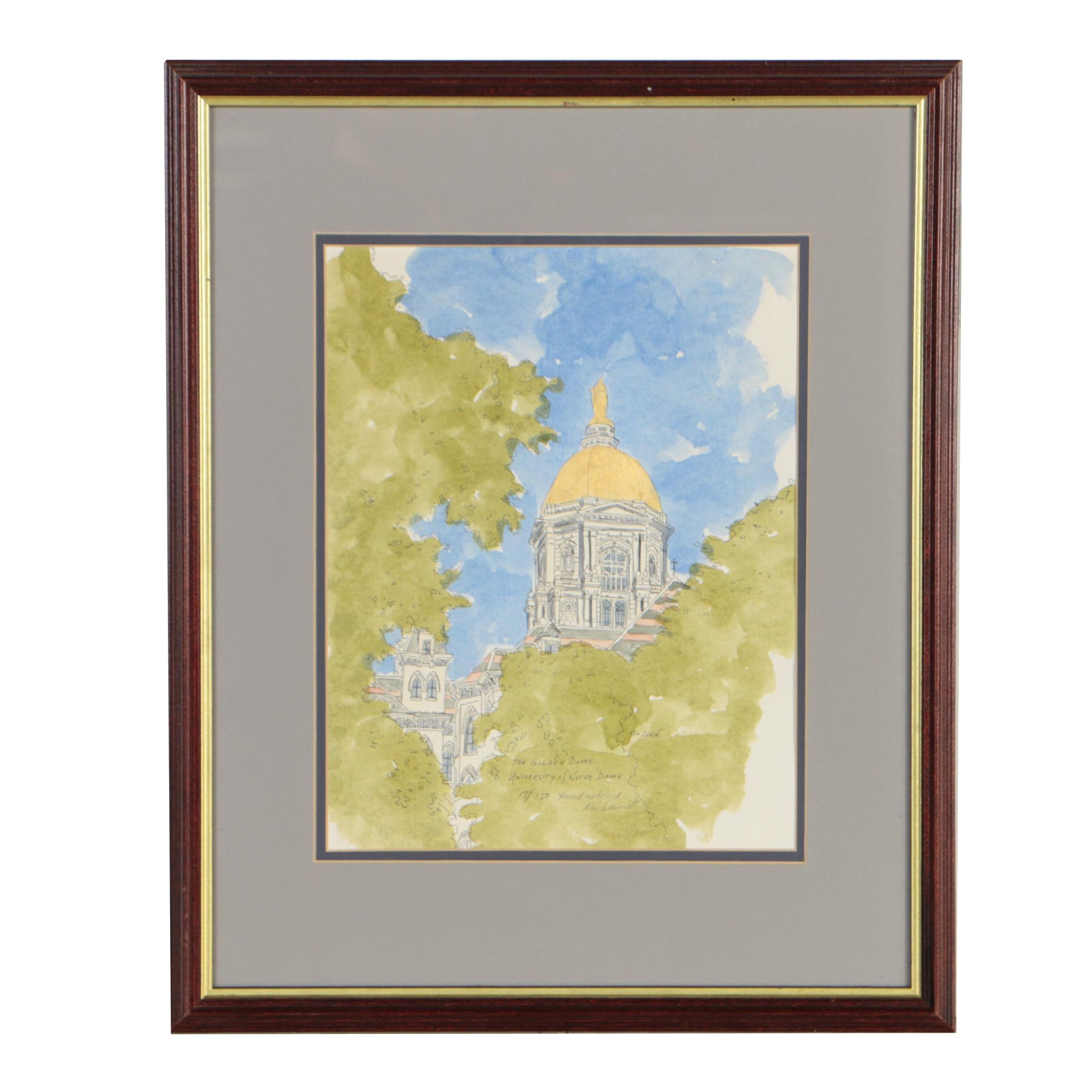 """Ken David Hand-Colored Lithograph """"The Golden Dome University of Notre Dame"""""""