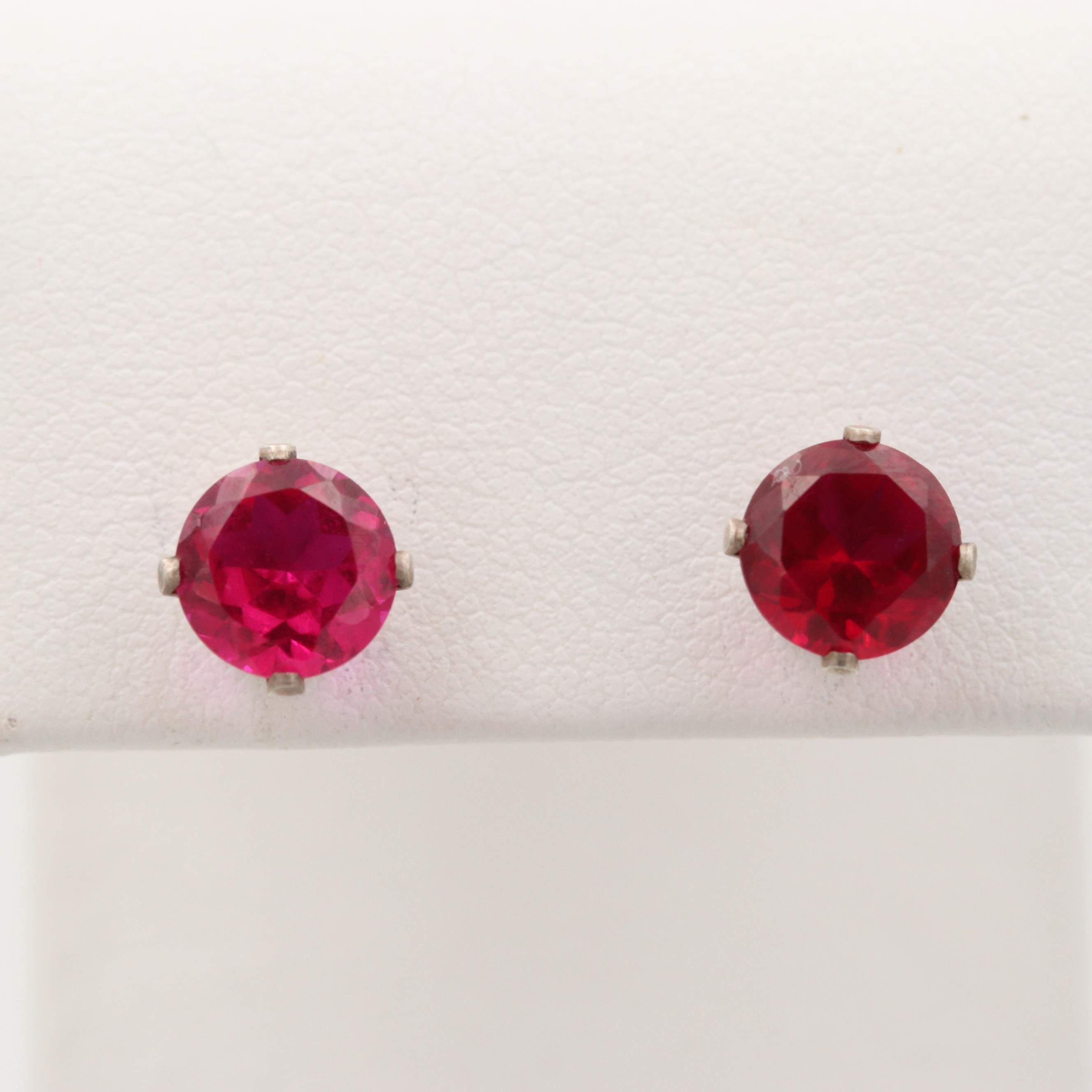 Sterling Silver Synthetic Ruby Stud Earrings