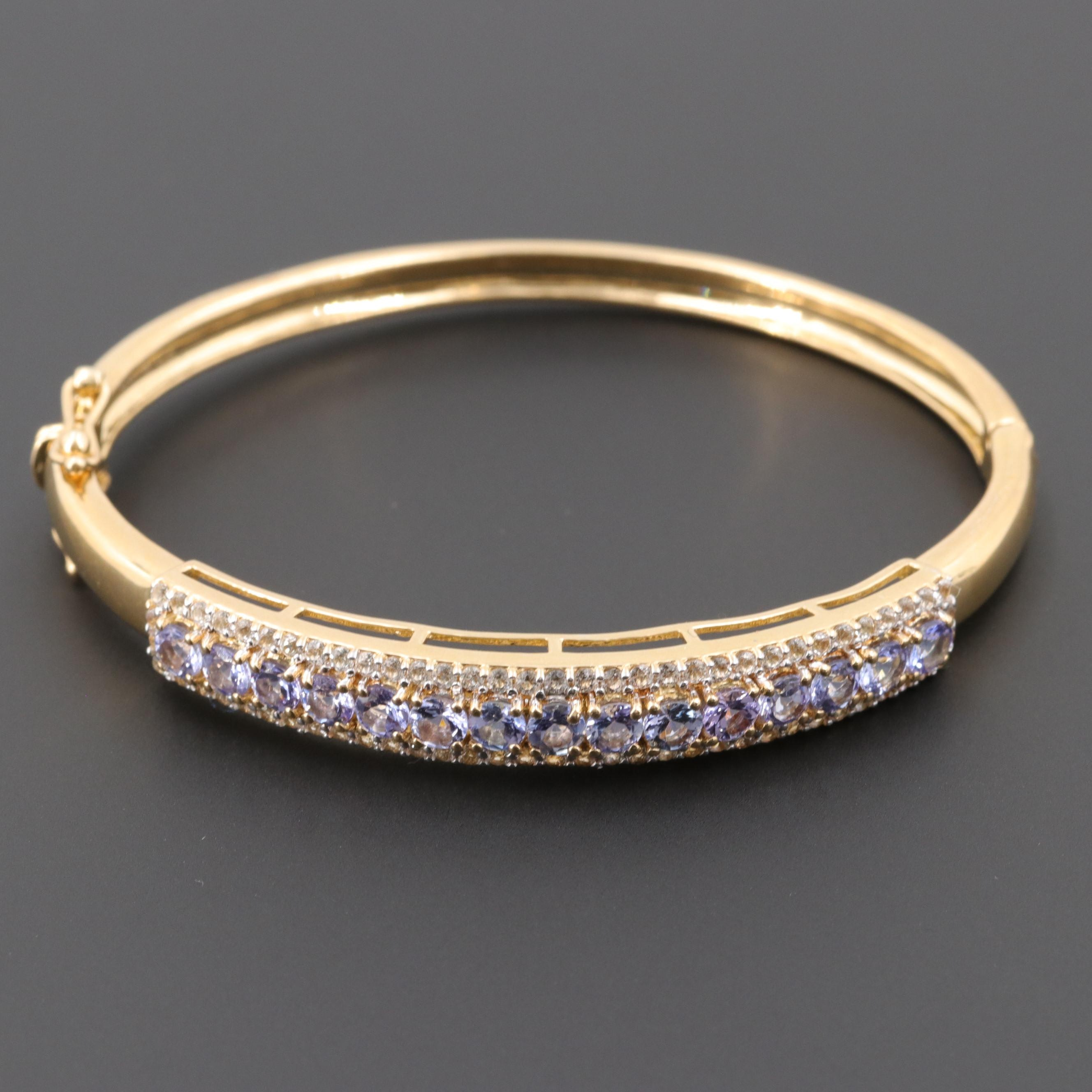 Gold Wash on Sterling Silver Tanzanite and White Topaz Hinged Bracelet