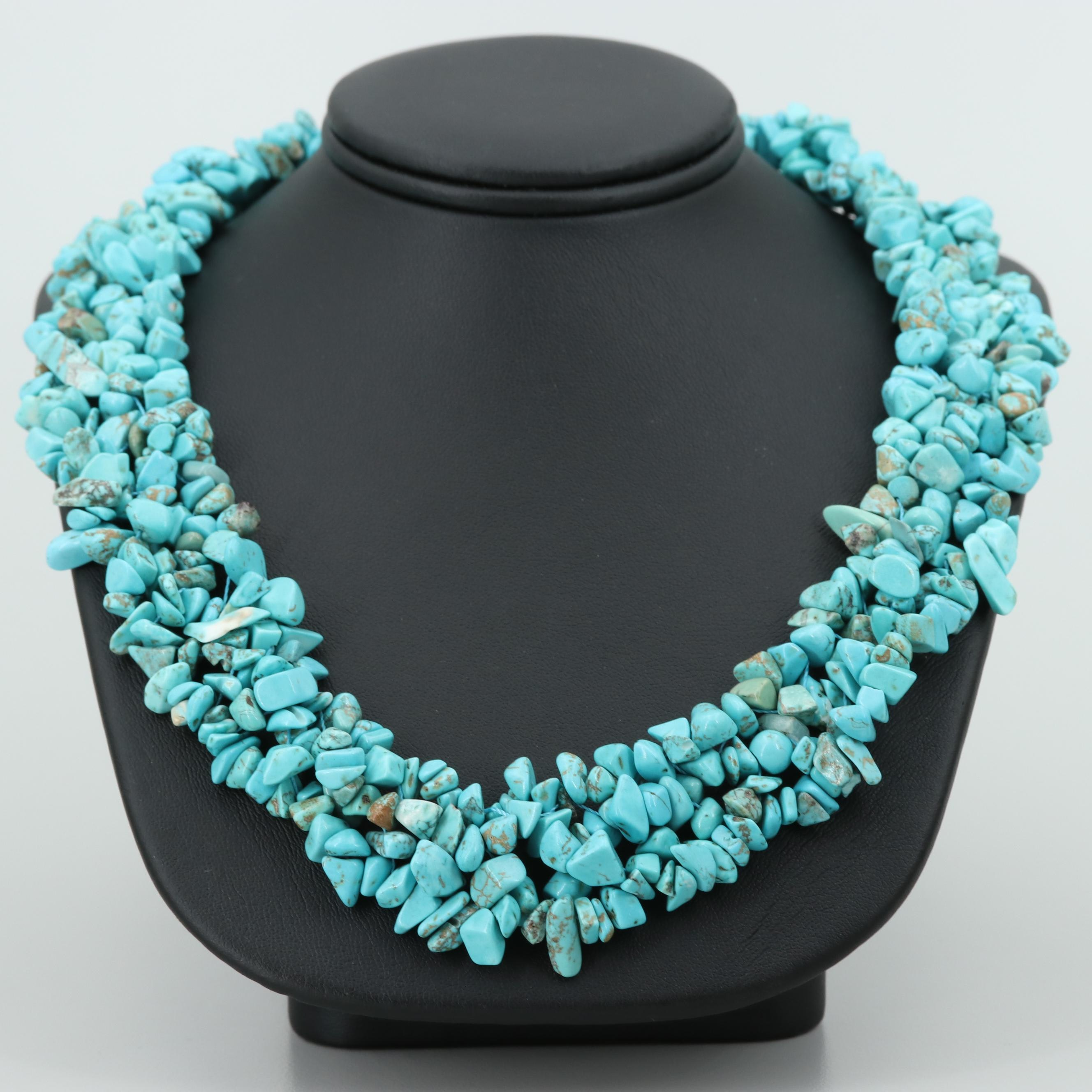Silver Tone Imitation Turquoise Woven Necklace