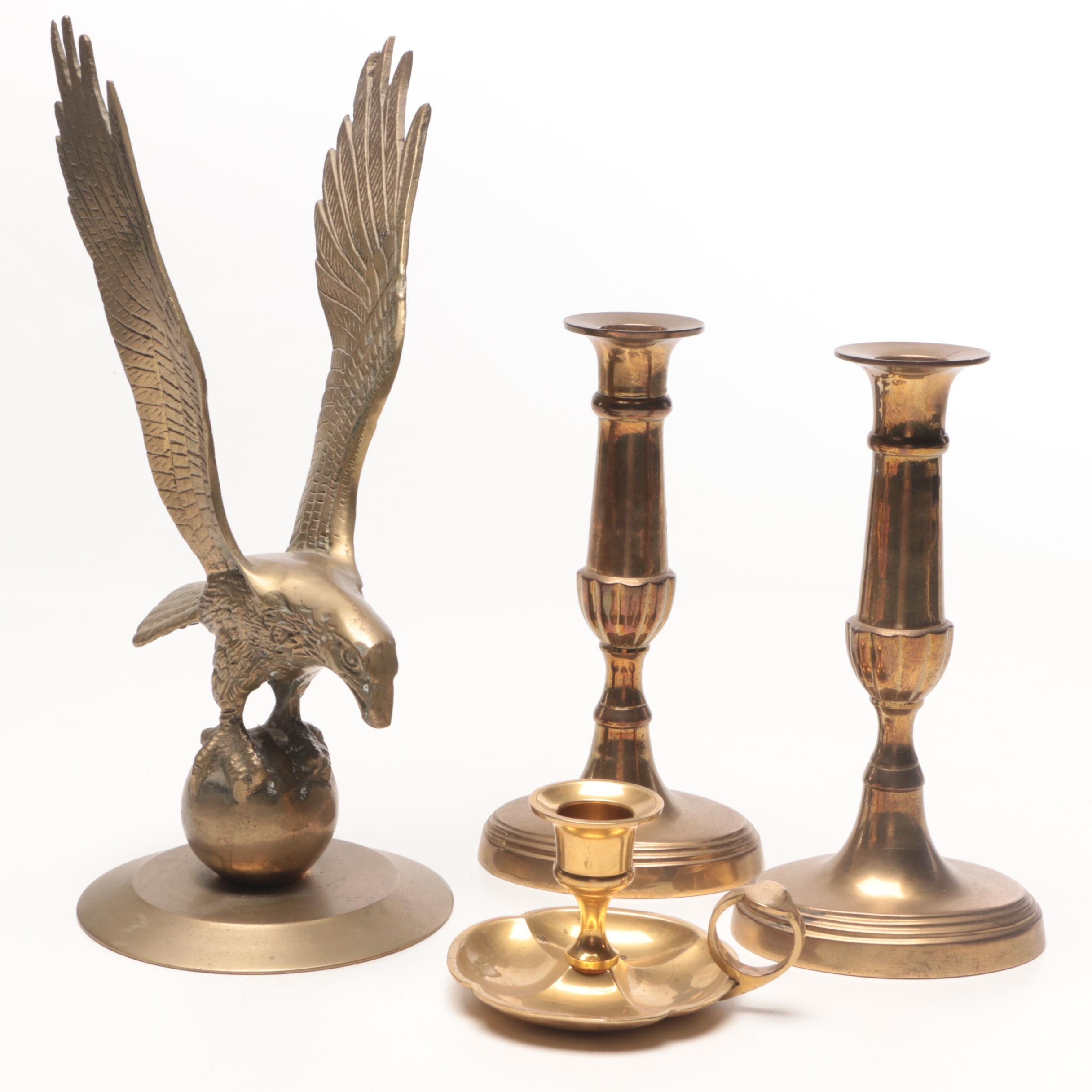 Brass Candlesticks and Eagle Figurine