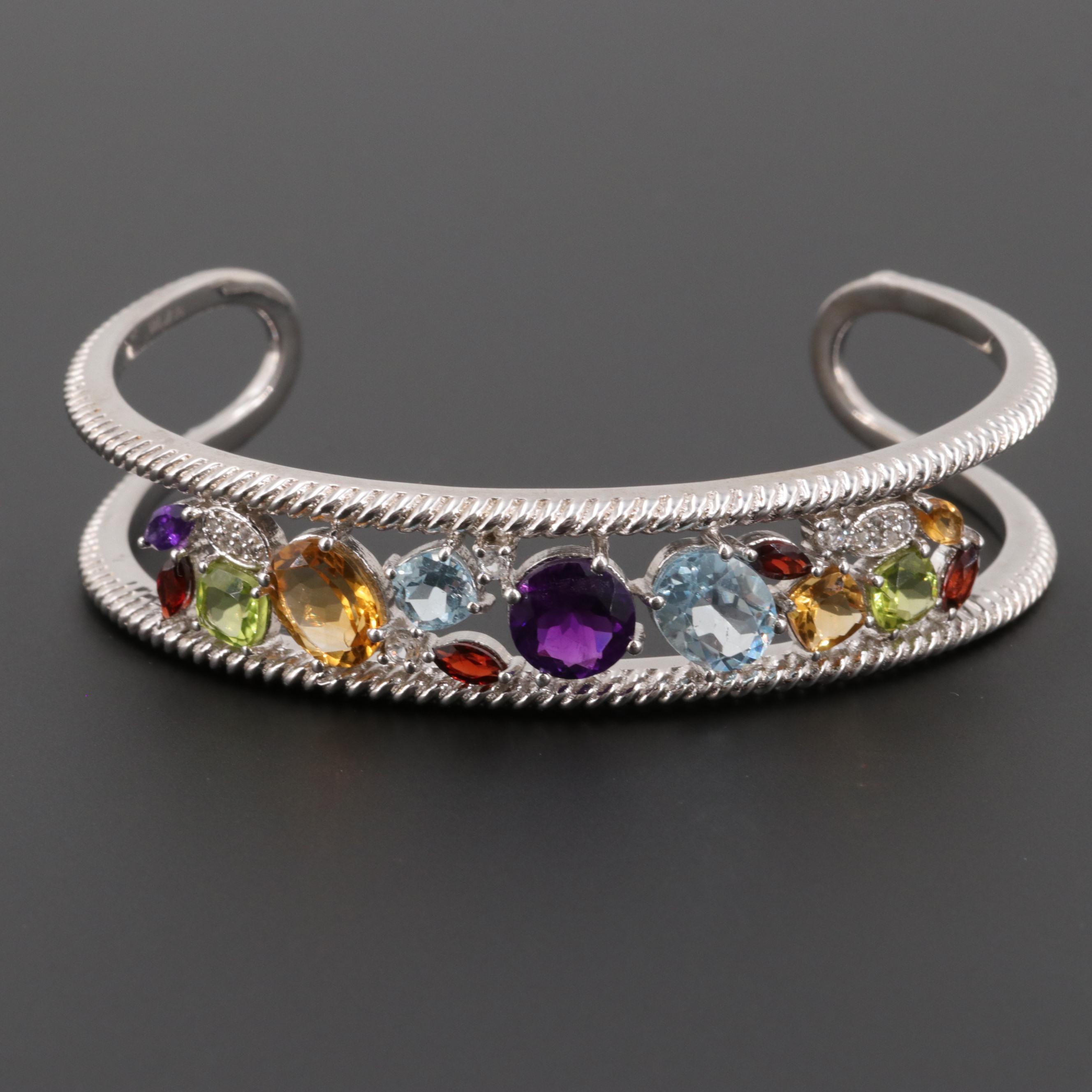 Sterling Silver Amethyst, Blue Topaz and Gemstone Cuff Bracelet