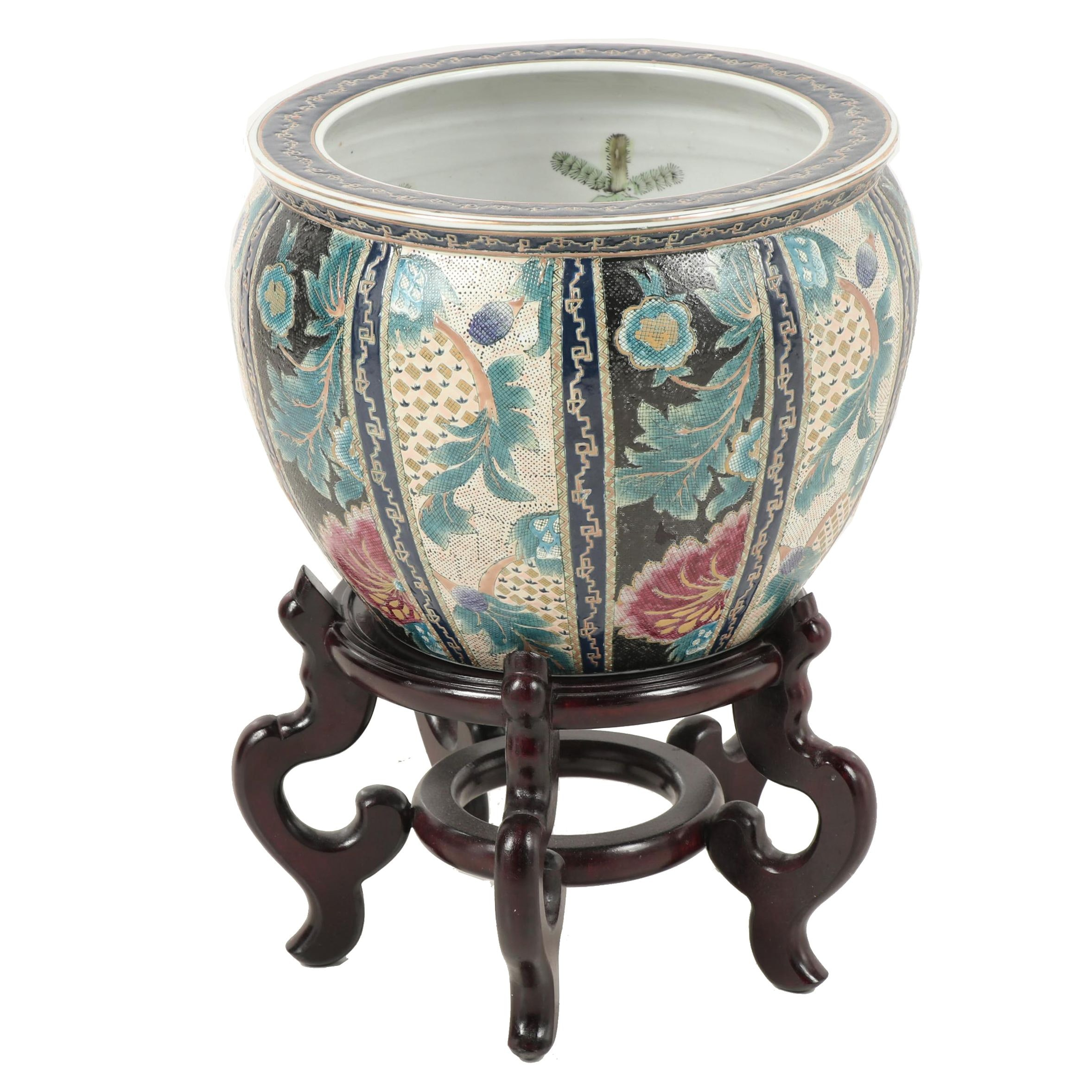 Chinese Ceramic Fishbowl Planter with Stand