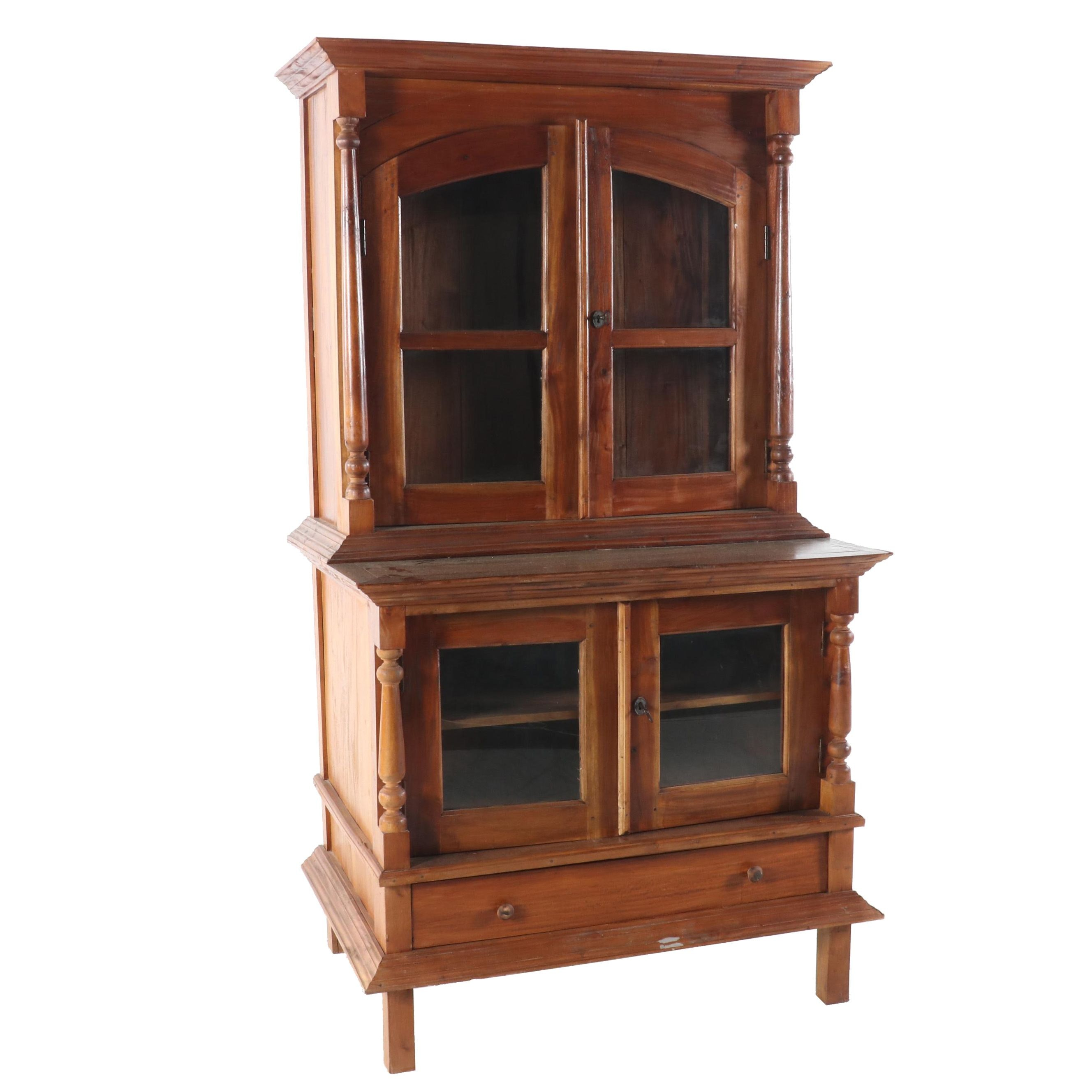 Contemporary Bench-Made Mesquite Step-Back Cupboard
