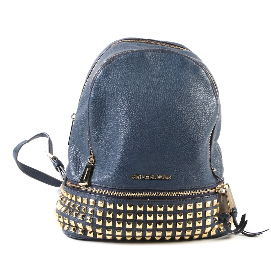 2b899f59cd21 MICHAEL Michael Kors Rhea Backpack in Studded Navy Pebbled Leather ...