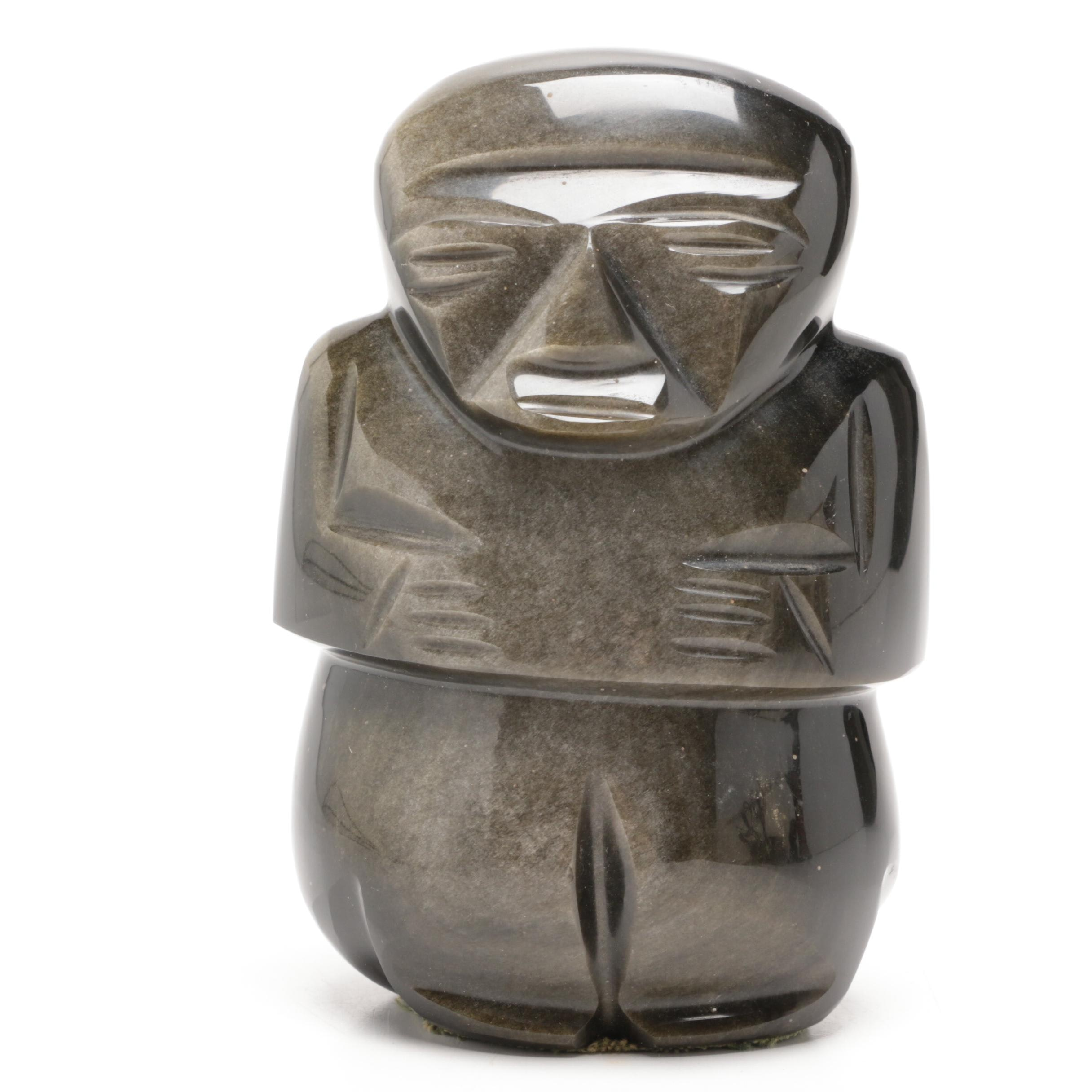Aztec Inspired Carved Obsidian Figurine