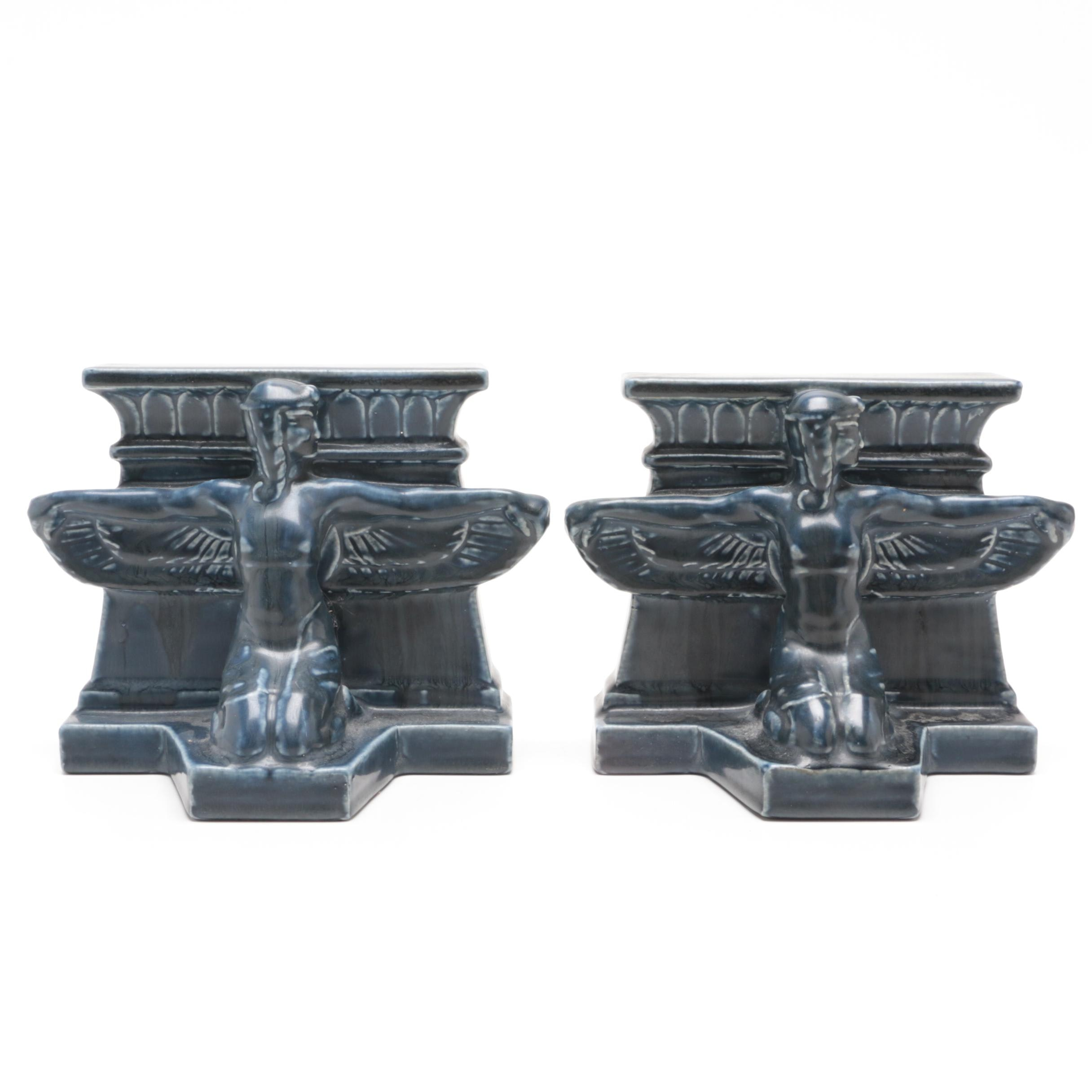 Rookwood Pottery Egyptian Revival Bookends, 1921