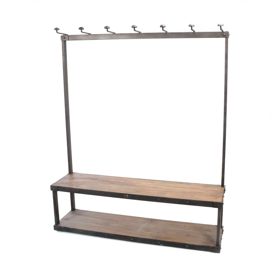 """Restoration Hardware, Industrial Style Iron and Slatted Wood """"Coat Rack Bench"""""""