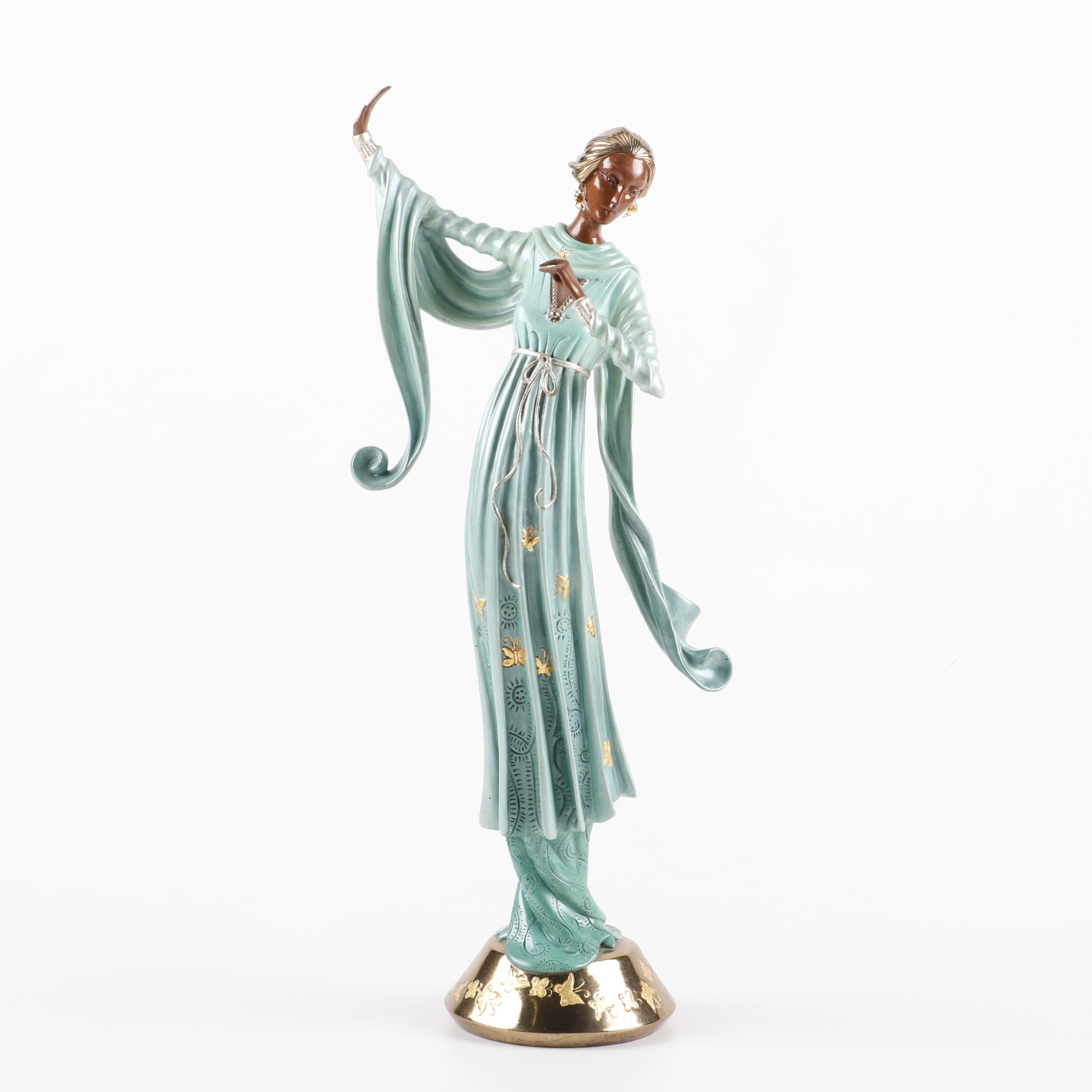 """Erté Patinated Bronze Sculpture """"Joie de Vivre"""""""