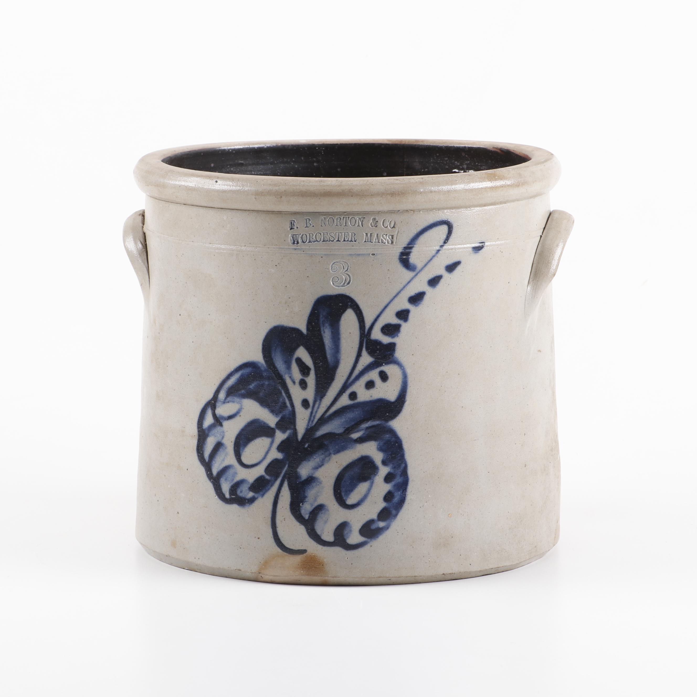 F.B. Norton and Co. Salt-Glazed Stoneware Crock, Late 19th/Early 20th Century