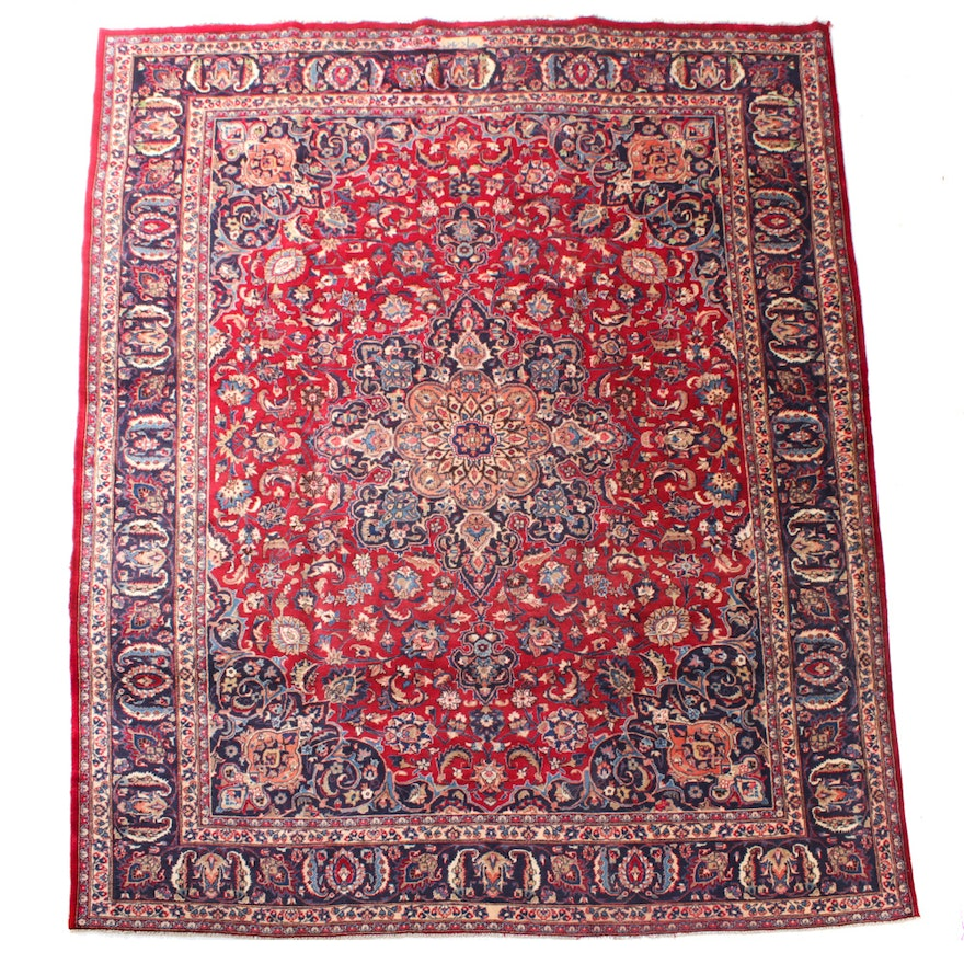 Hand-Knotted Signed Persian Sarouk Room Sized Rug