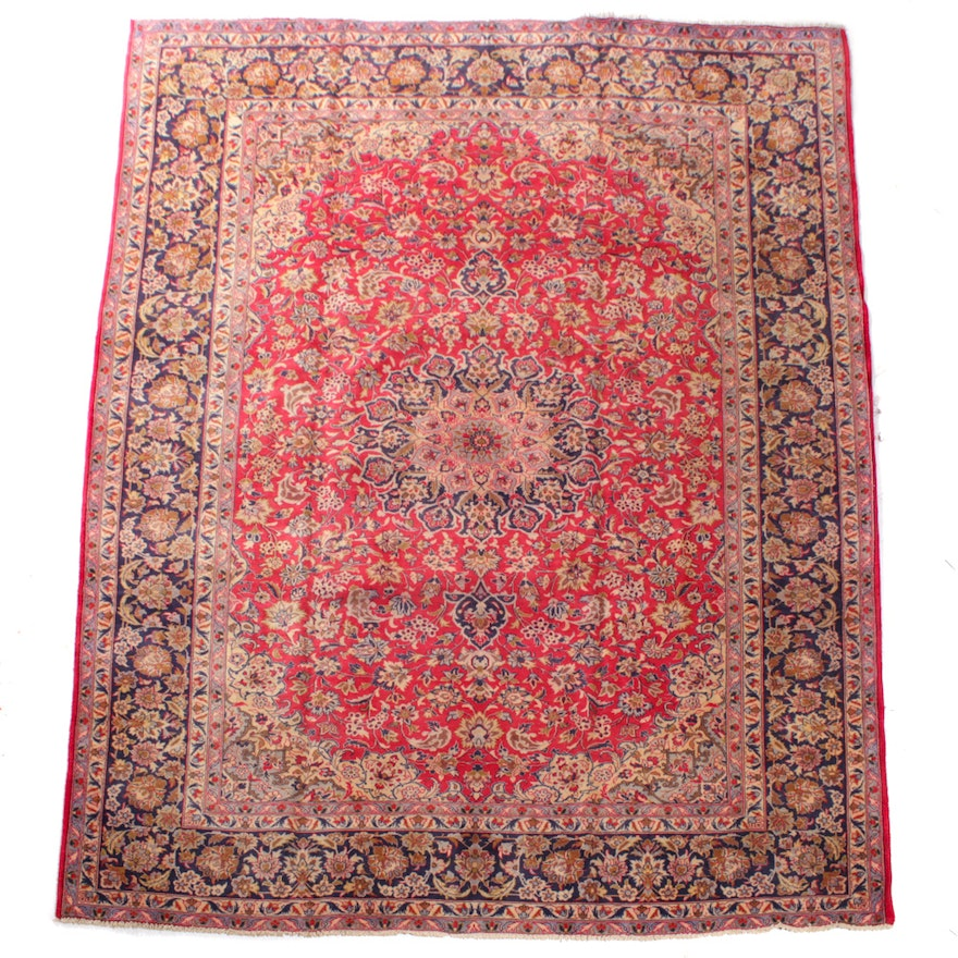 Hand-Knotted Persian Sarouk Wool Room Sized Rug