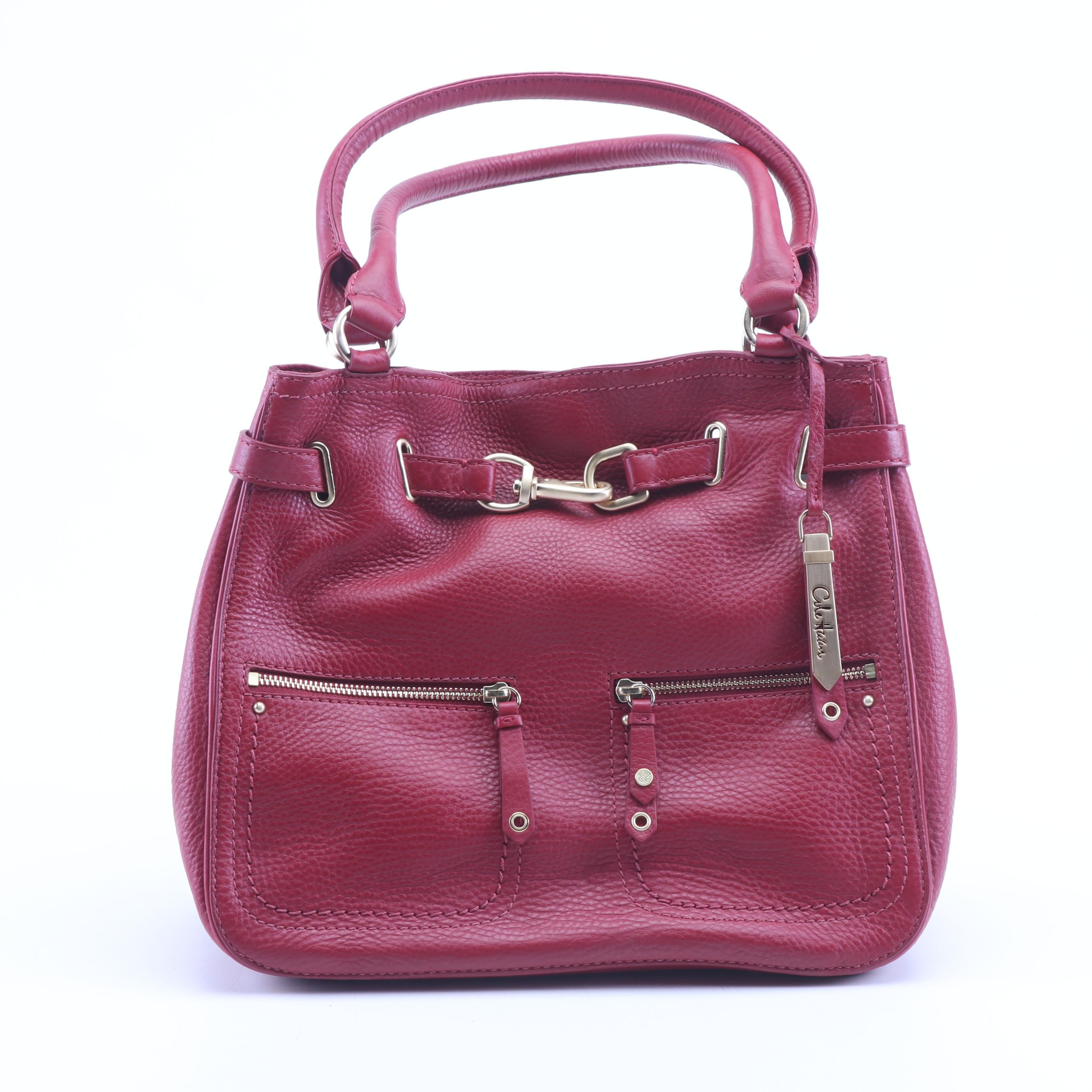 Cole Haan Red Pebbled Leather Shoulder Bag