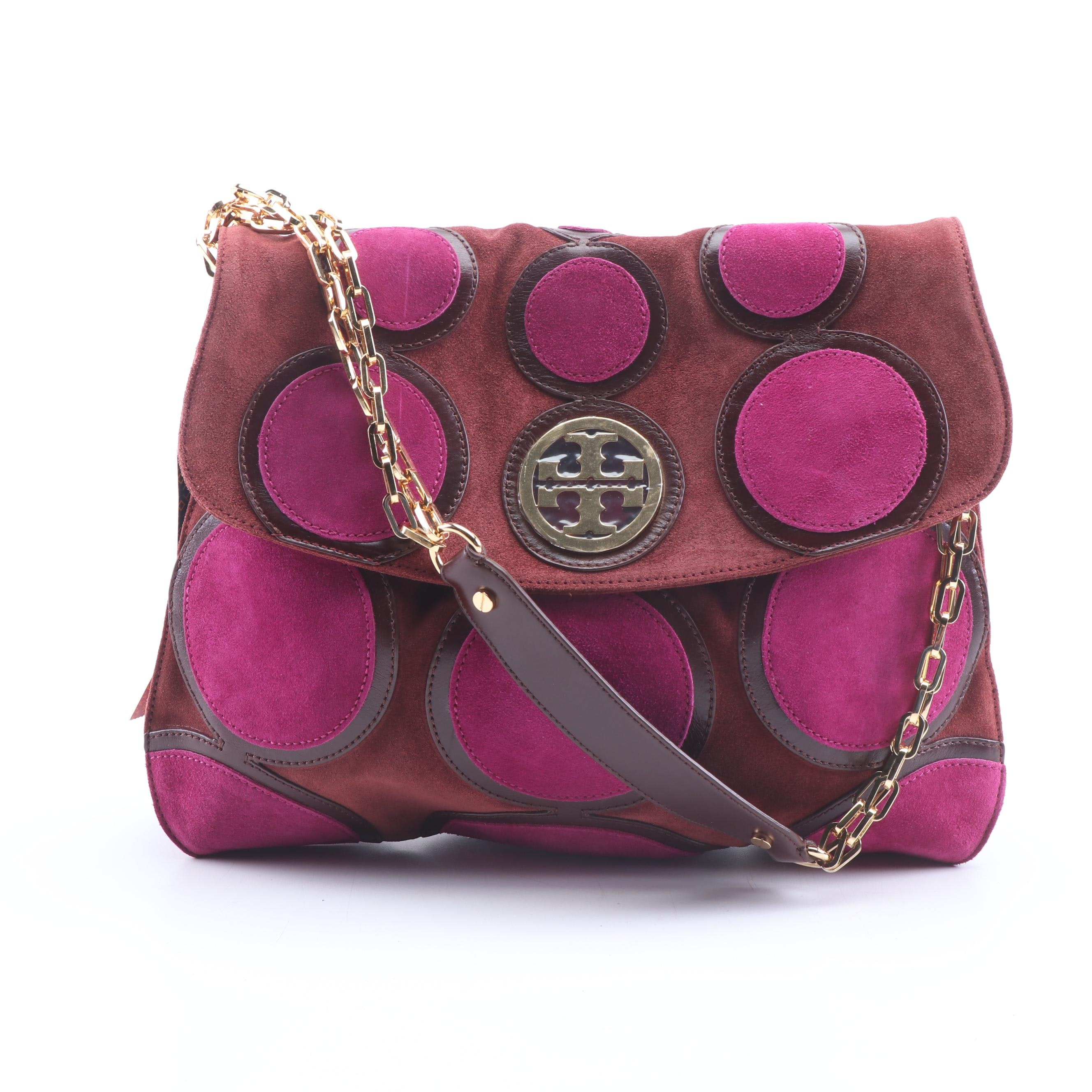 Tory Burch Suede and Leather Circle Happy Hobo Bag