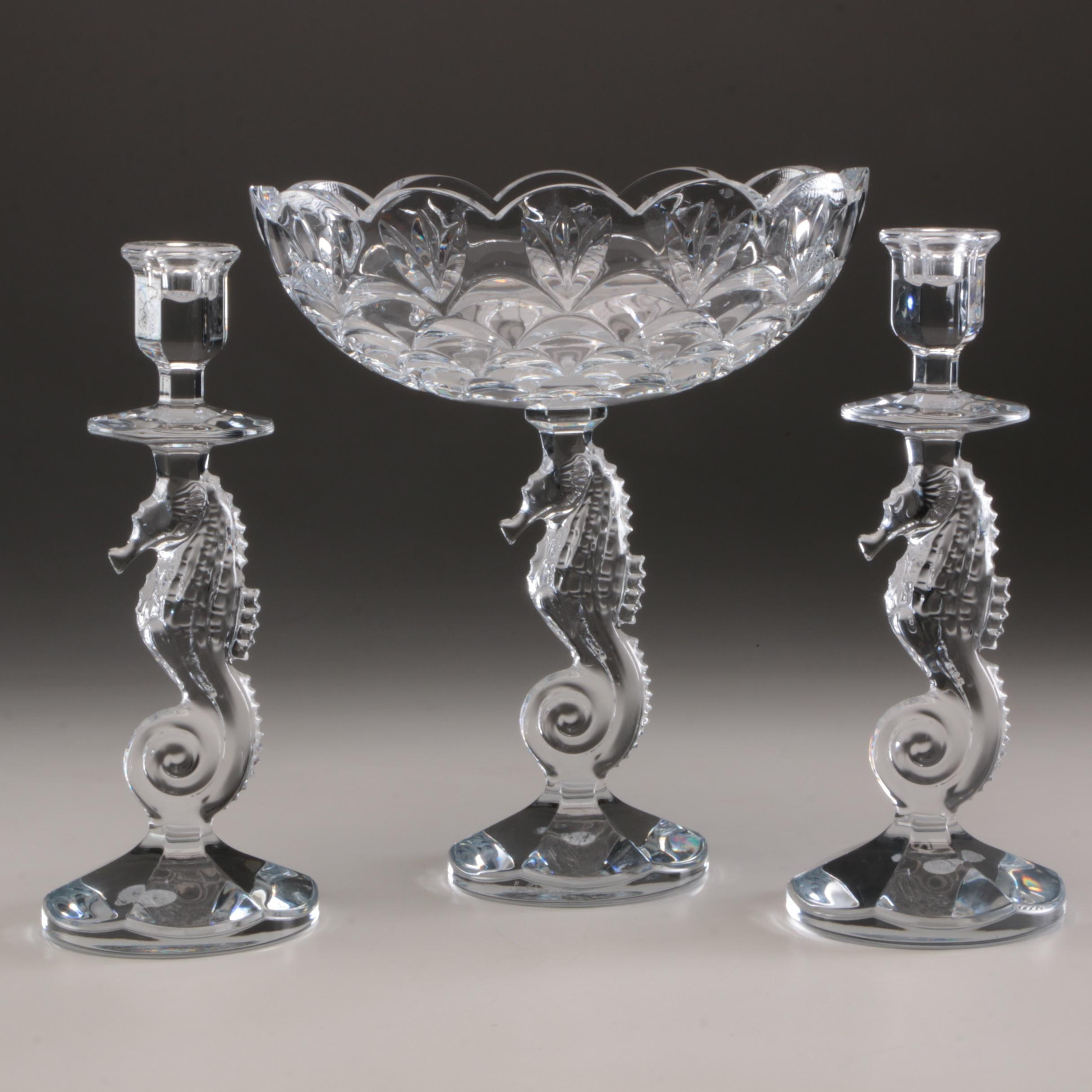 """Waterford Crystal """"Seahorse"""" Centerpiece Compote and Candlesticks"""