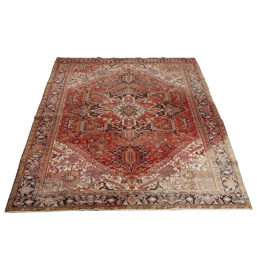 Hand-Knotted Persian Heriz Orley Shabahang Wool Room Sized Rug