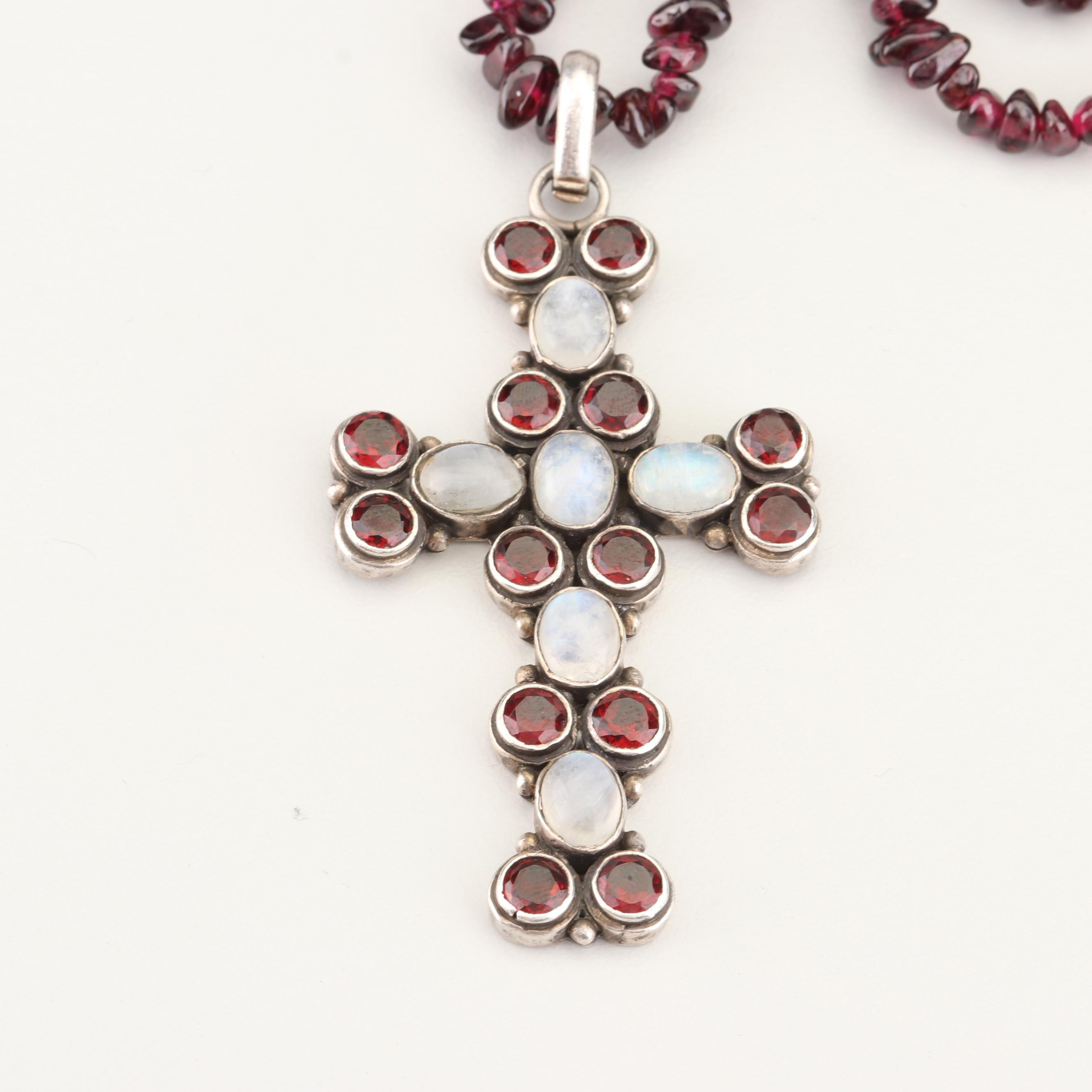 Sterling Silver Moonstone and Garnet Cross Pendant on Rhodolite Garnet Necklace