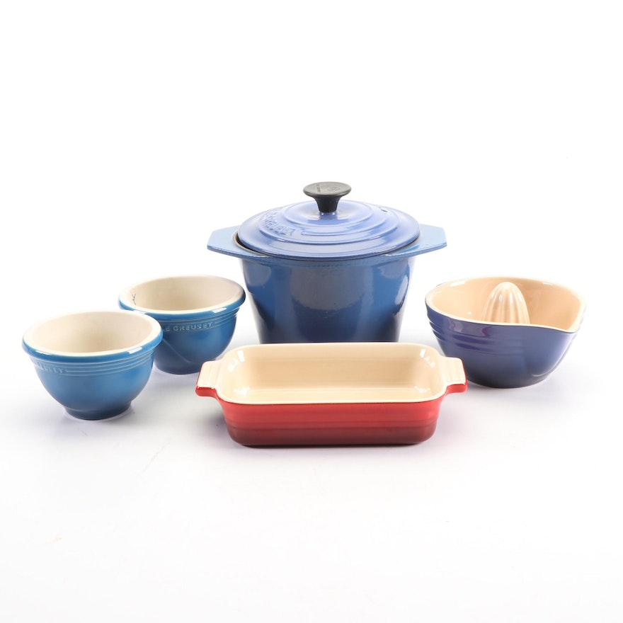 Le Creuset Small Enameled Cast Iron Pot and Ceramic Bakeware