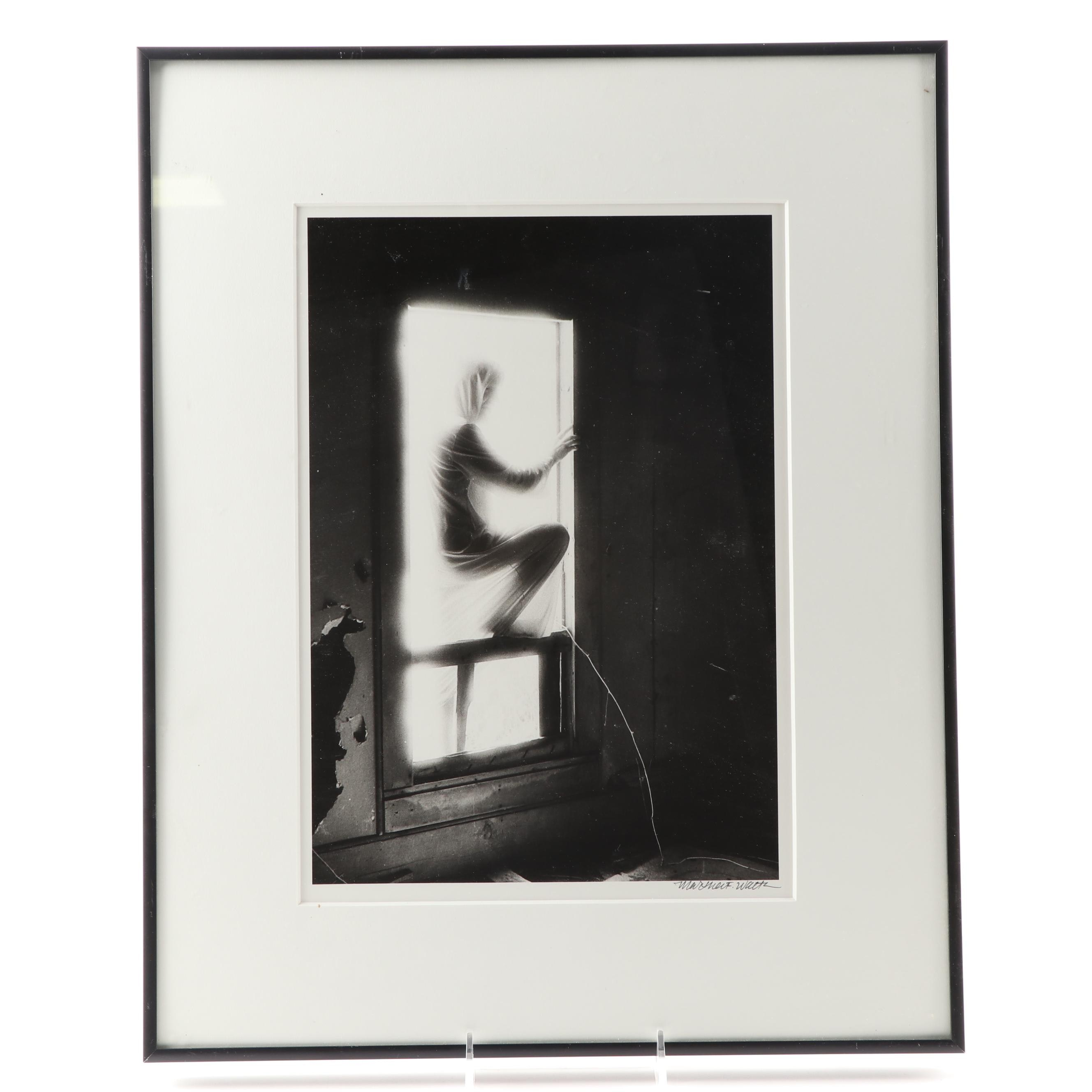 "Martha F. Waltz Gelatin Photograph ""Self Portrait Wrapped In Plastic"""