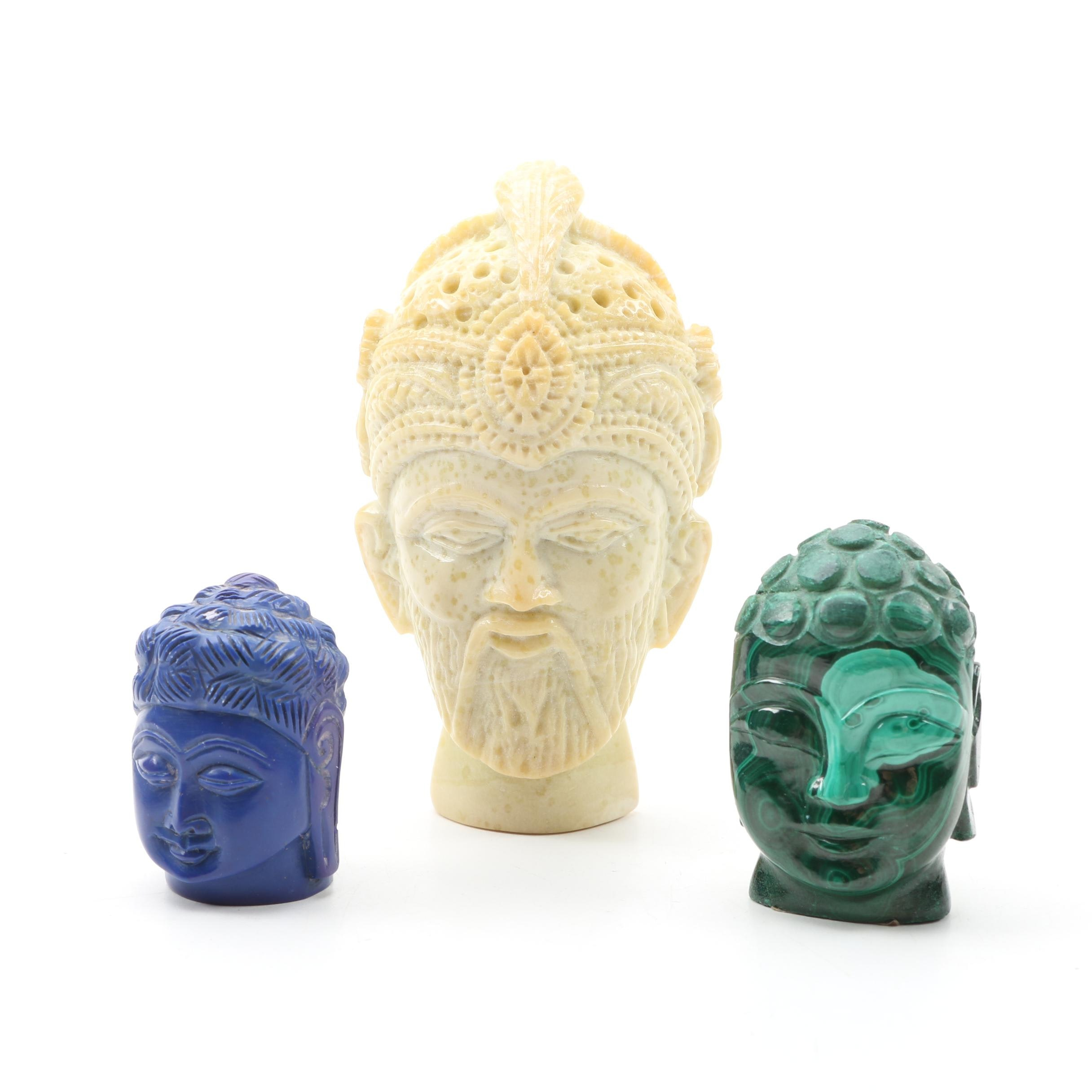 Carved  Buddha Heads and Other Carved Head