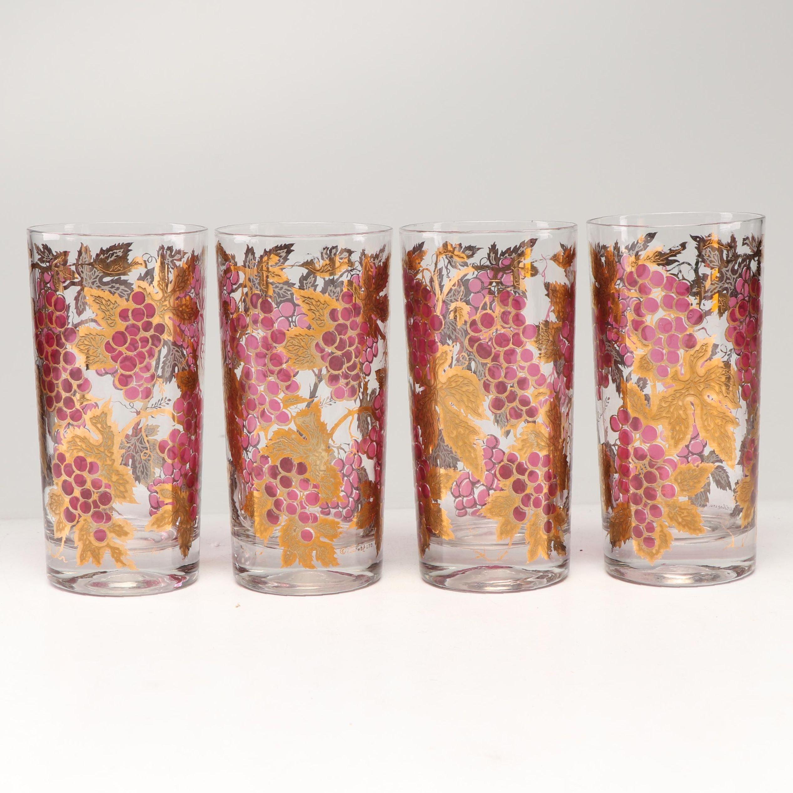 Culver Purple and Gold Grape Glasses