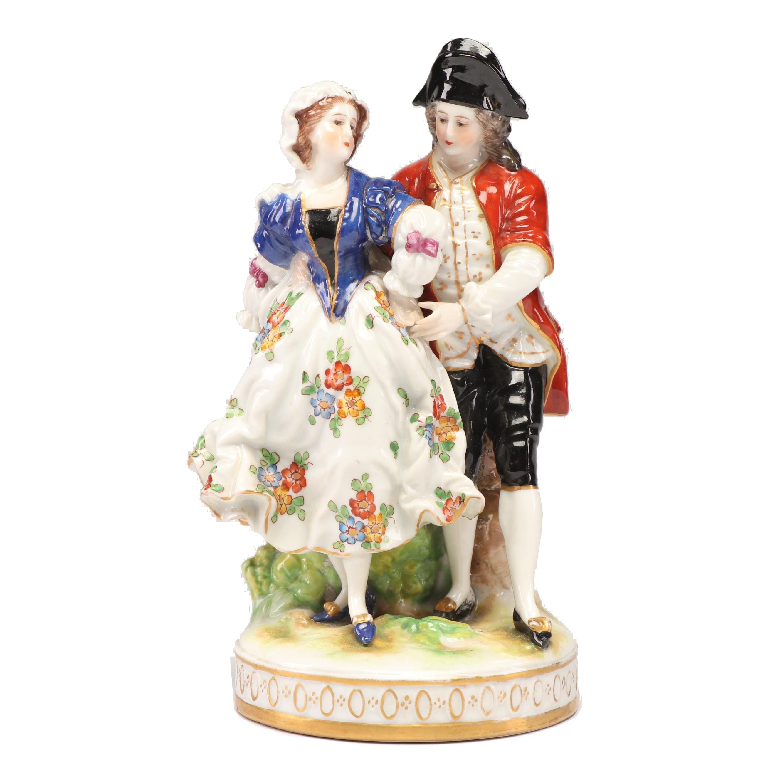 Old Volkstedt Dresden Porcelain Courting Couple