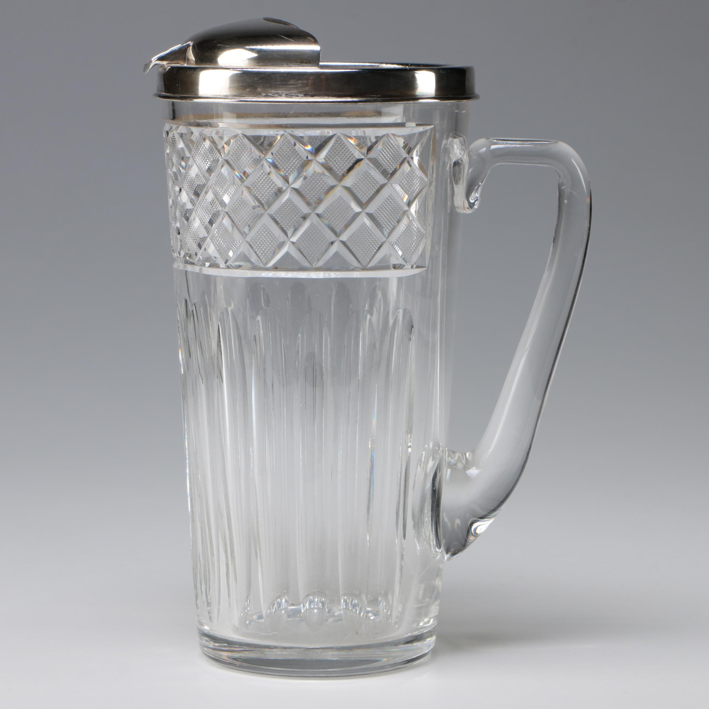 Art Deco Cut Crystal Cocktail Pitcher with Tiffany & Co. Sterling Silver Lip