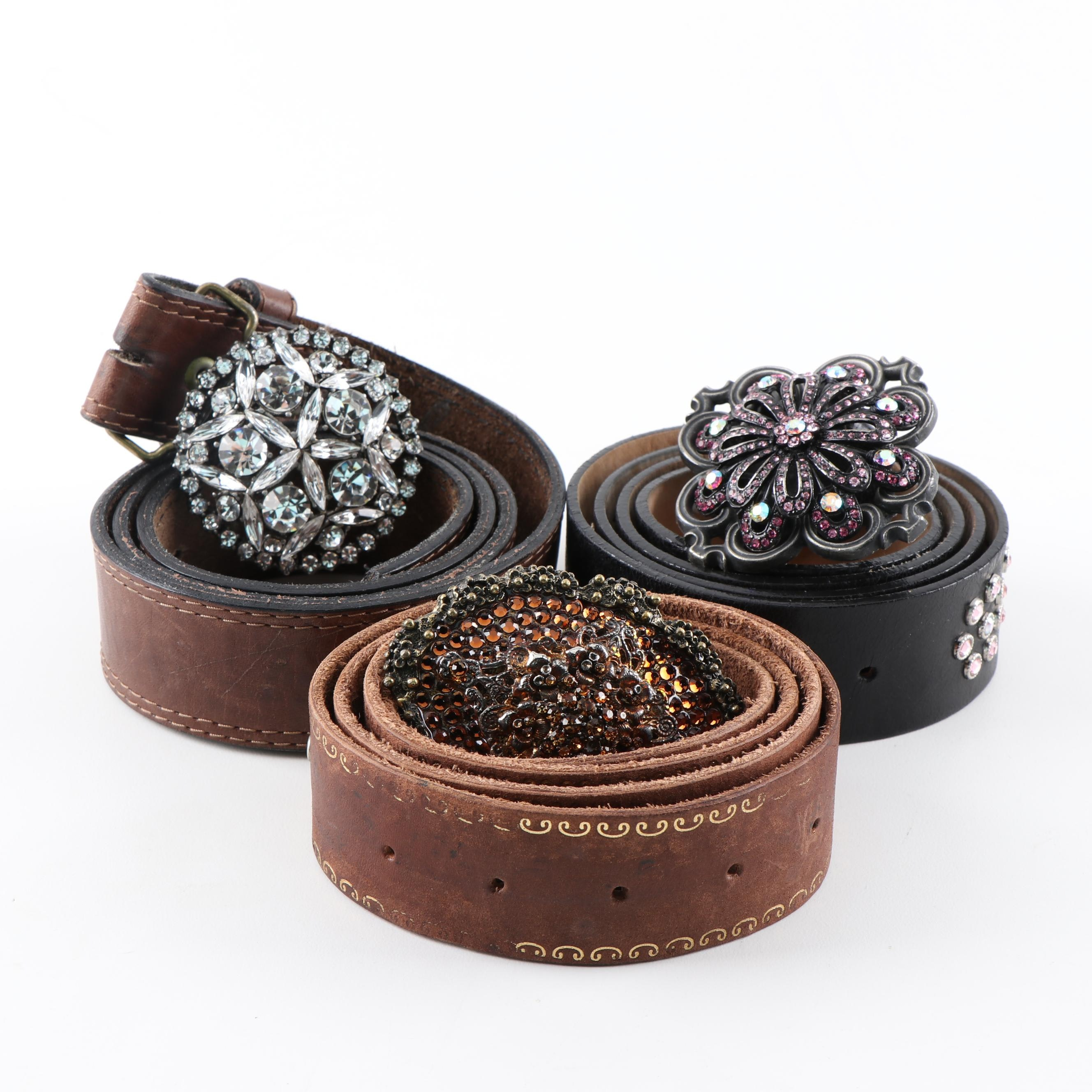Bejeweled Leather Belts Featuring Streets Ahead