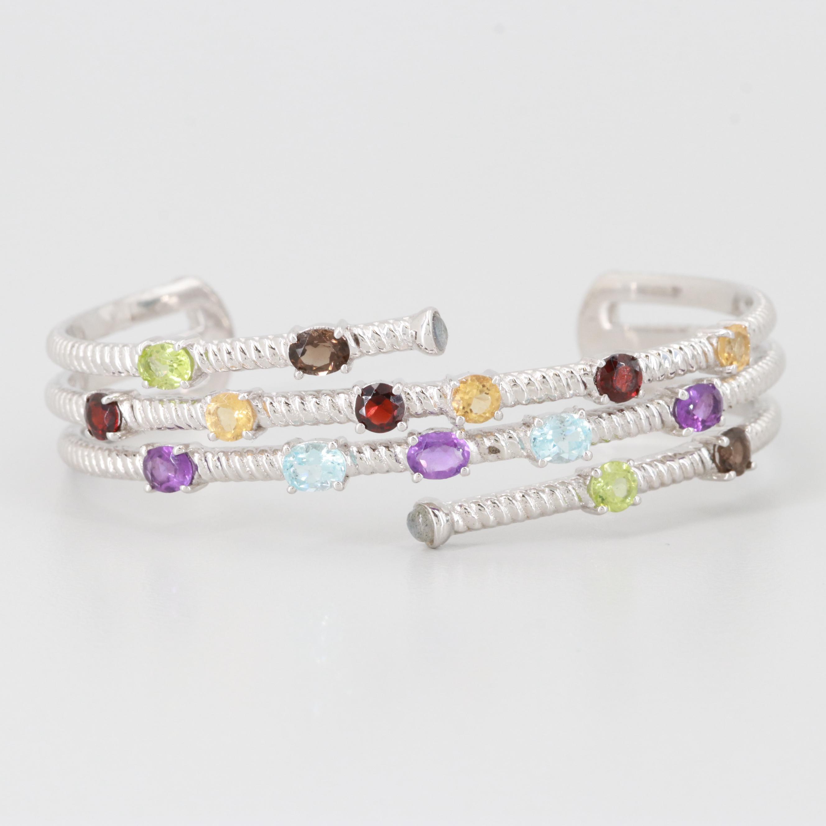 Sterling Silver Labradorite, Blue Topaz and Gemstone Cuff Bracelet