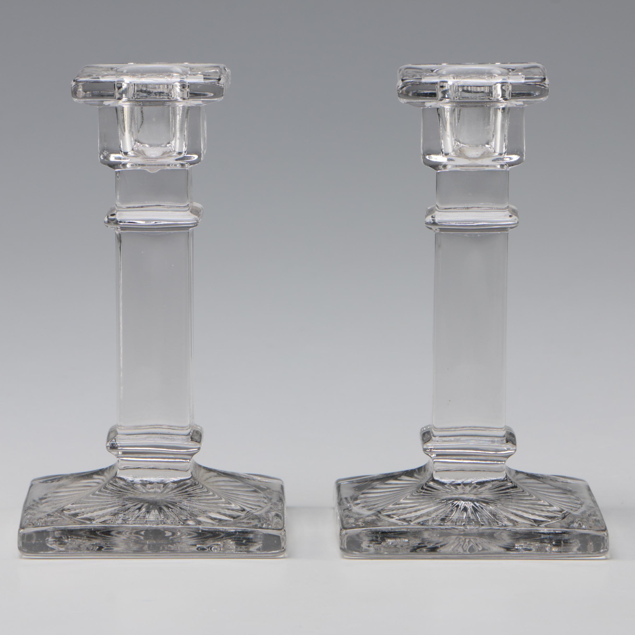 Pair of Pressed Glass Columnar Candlesticks