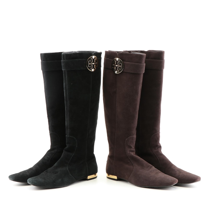 23d2be90ca9 Tory Burch Black and Brown Suede Zipper-Back Tall Boots   EBTH
