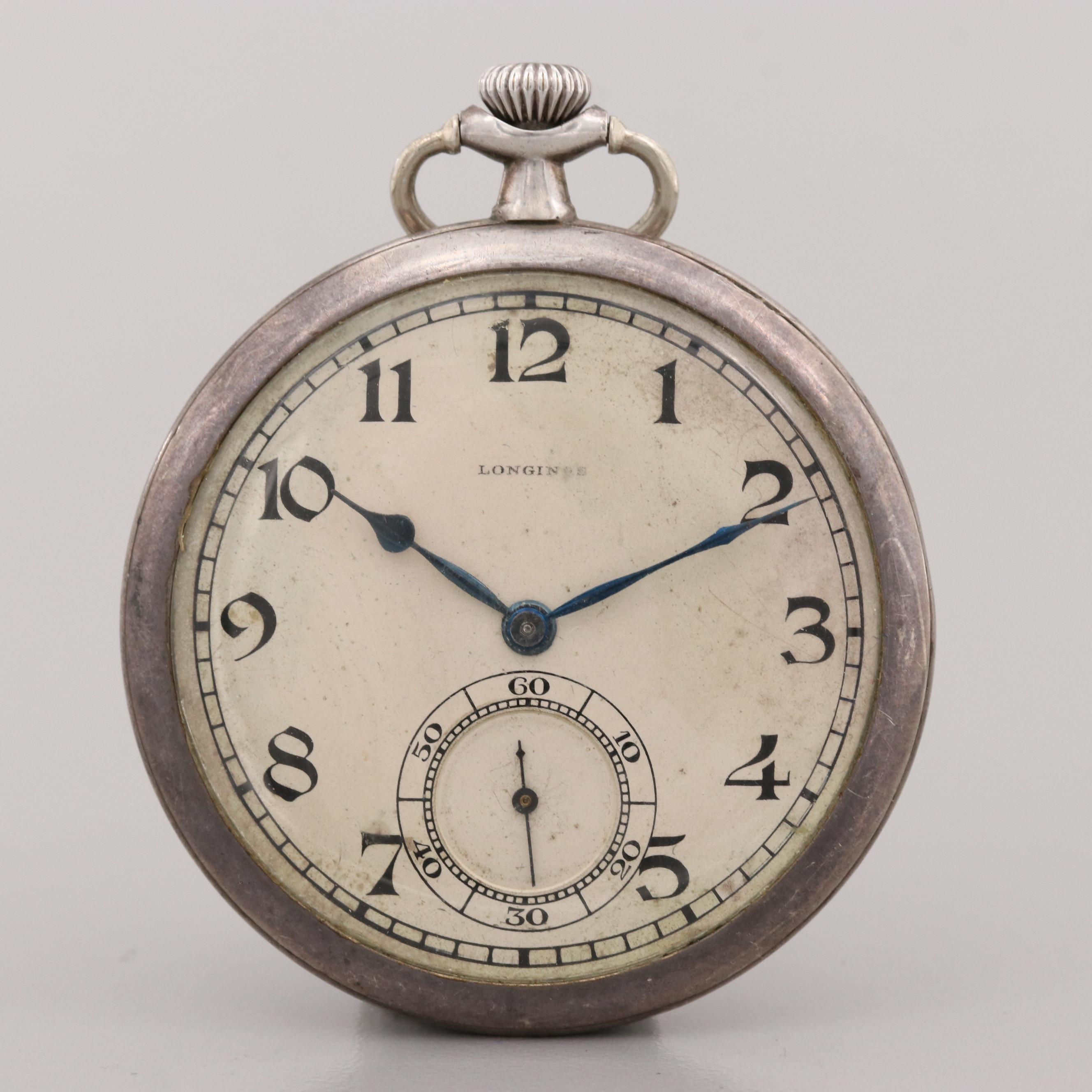 Vintage Longines 900 Silver Open Face Pocket Watch