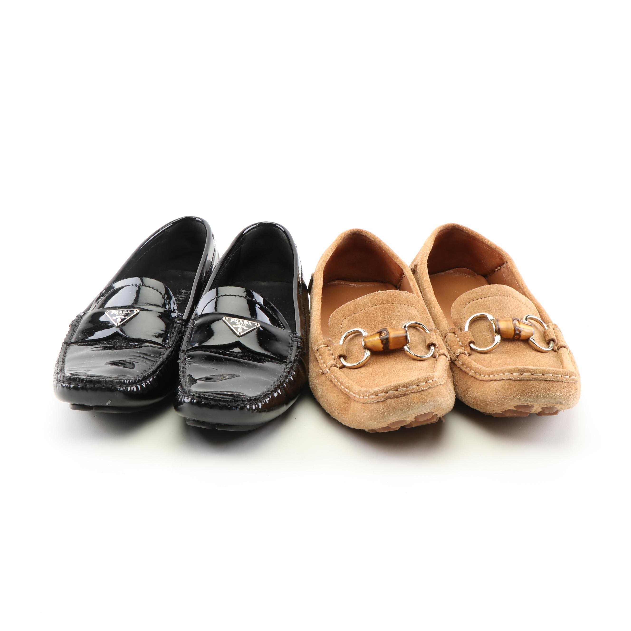 Prada Black Patent Leather and Gucci Tan Suede Bamboo Bit Loafers