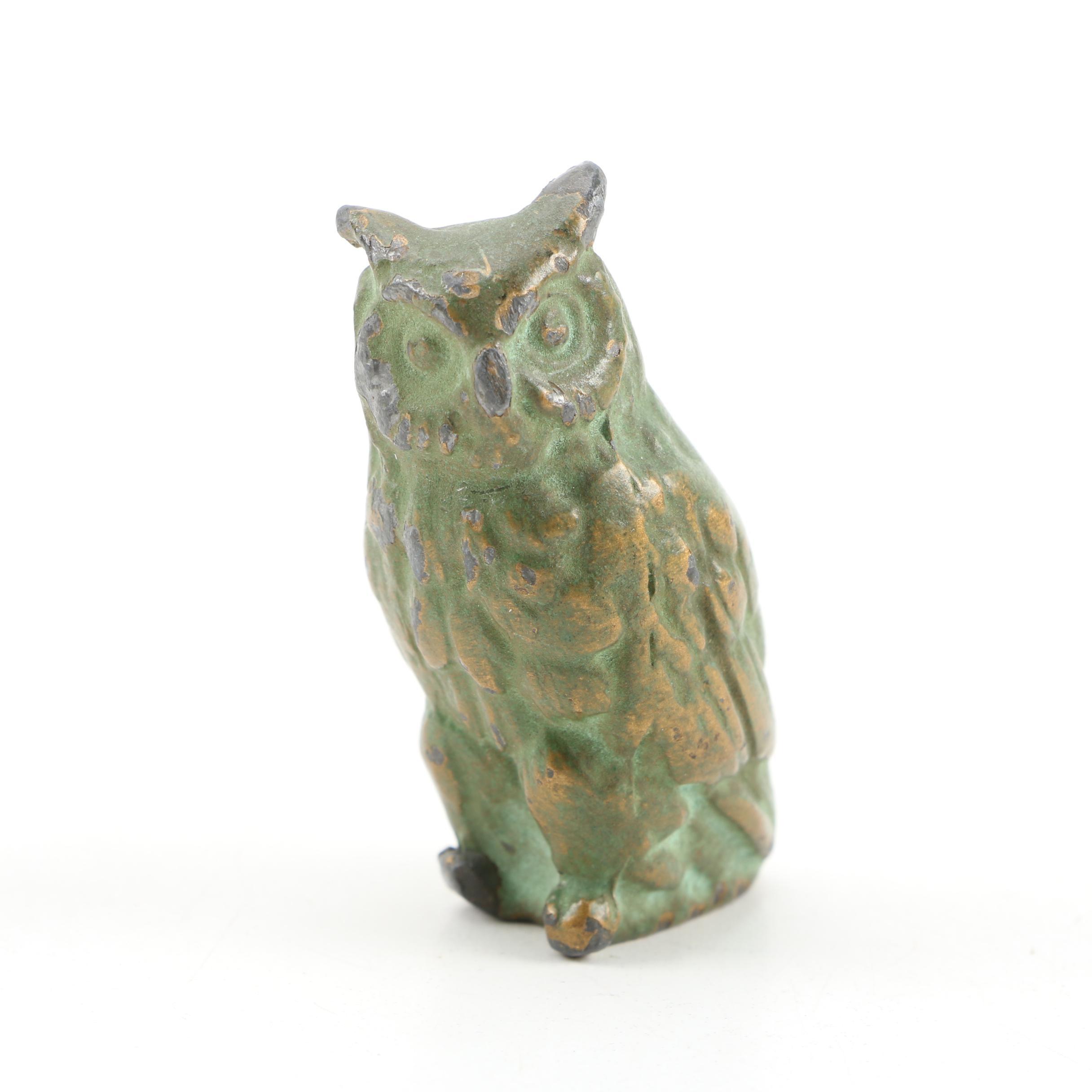 Patinated Brass Finish Cast Metal Owl Figurine