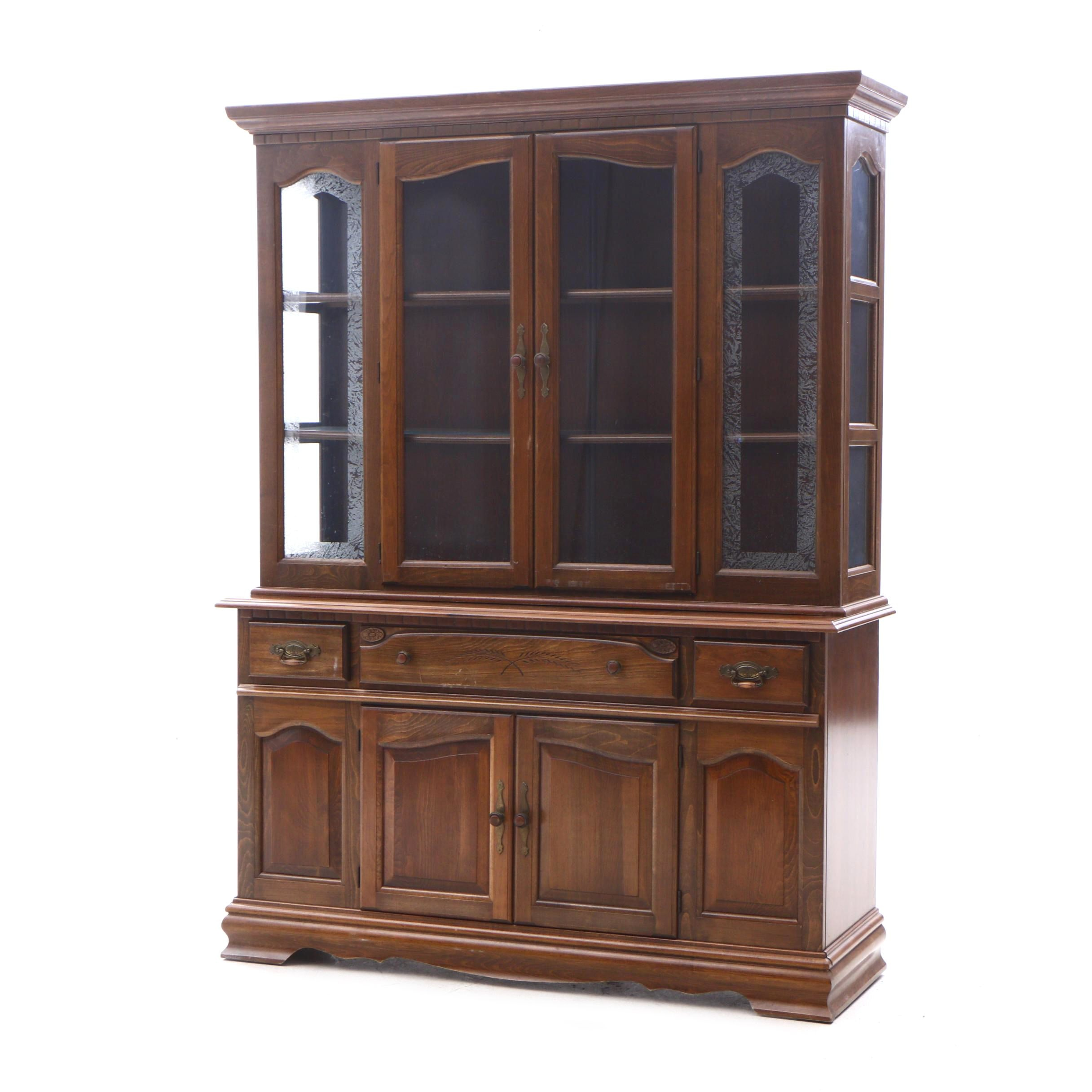 Transitional Style Maple China Cabinet, Late 20th Century