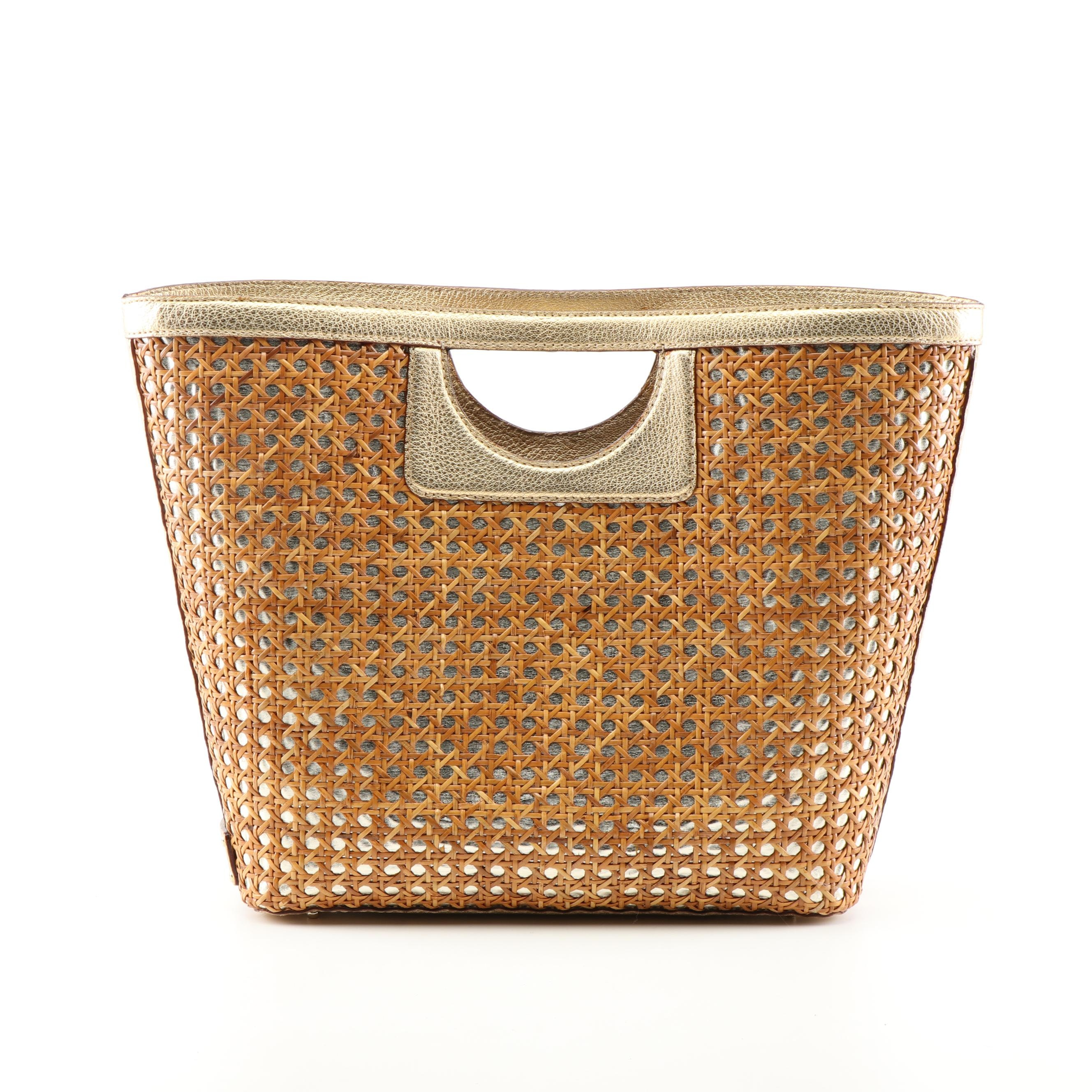 Kate Spade New York Cane and Metallic Leather Tote Bag
