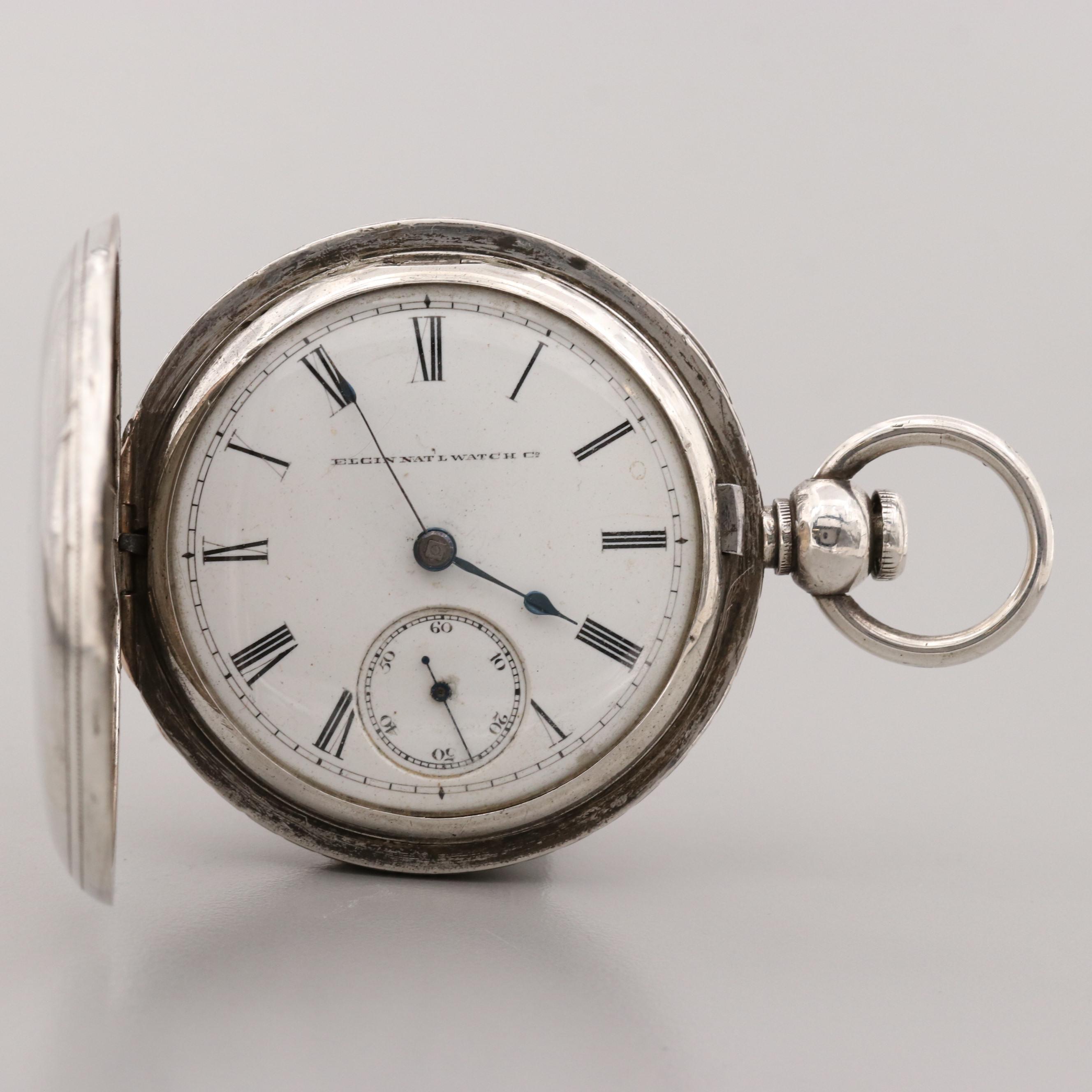 Antique Elgin Sterling Silver Hunter Case Pocket Watch