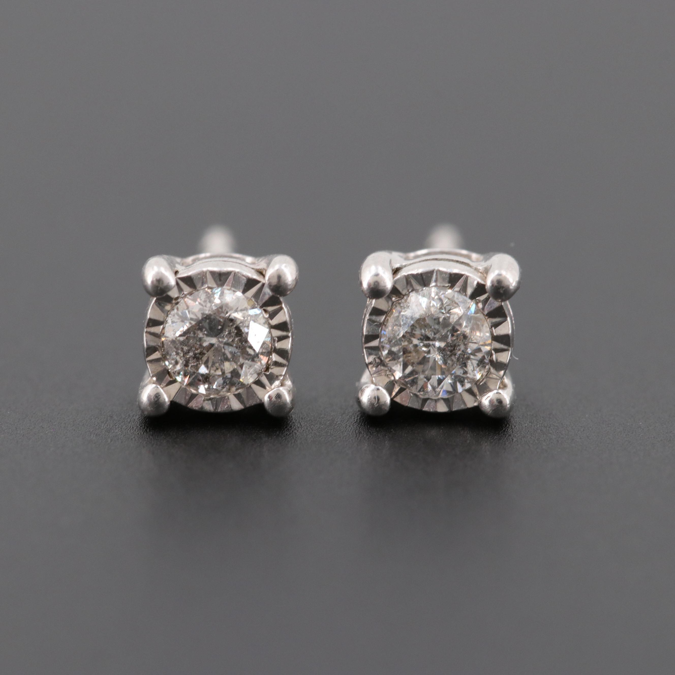 Silver Sterling Diamond Stud Earrings