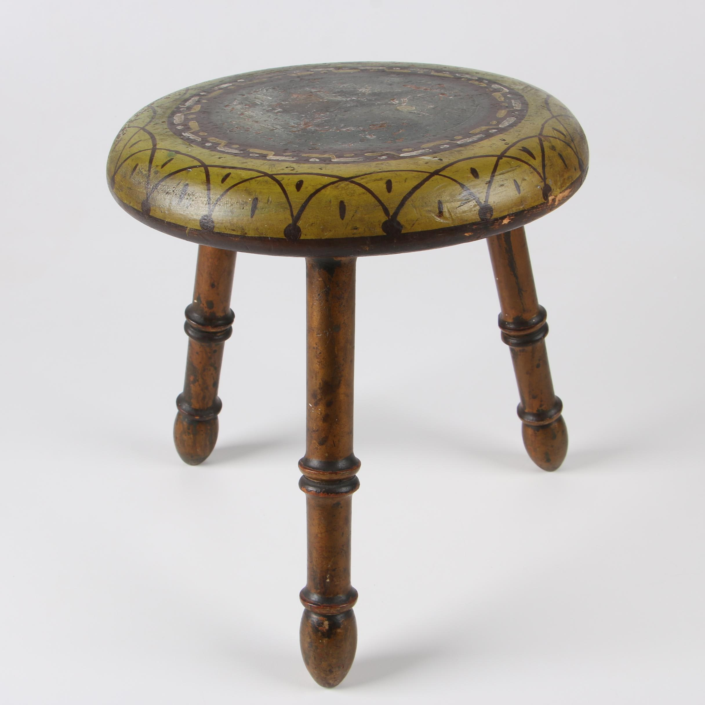 Painted and Parcel Gilt Foot Stool with Cabin Scene