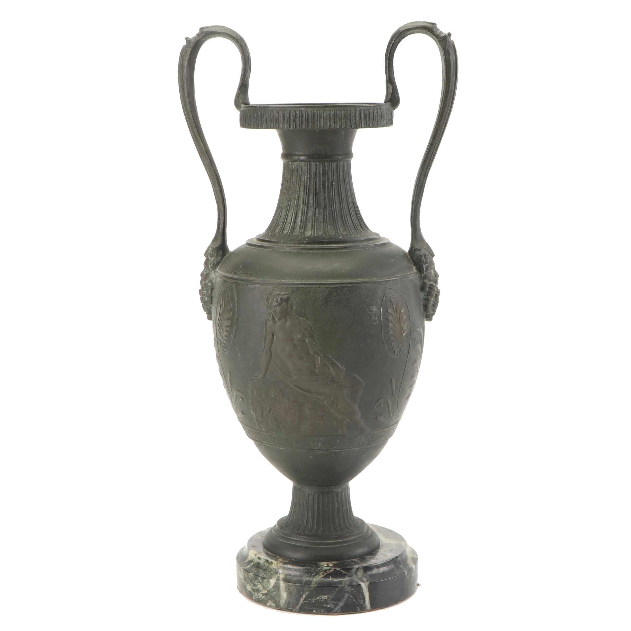 Antique French Marble Based Cast Urn