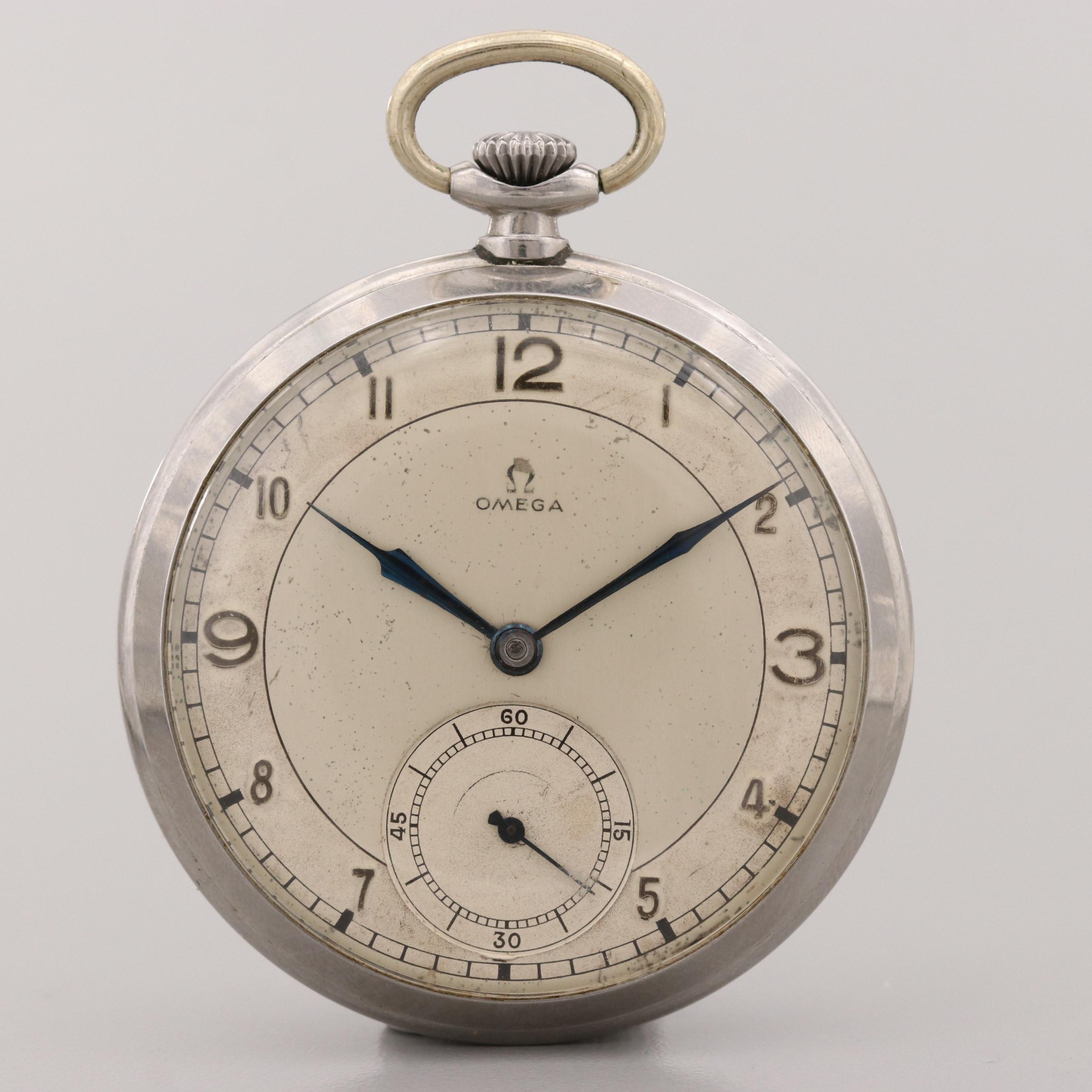 Vintage Omega Stainless Steel Open Face Pocket Watch