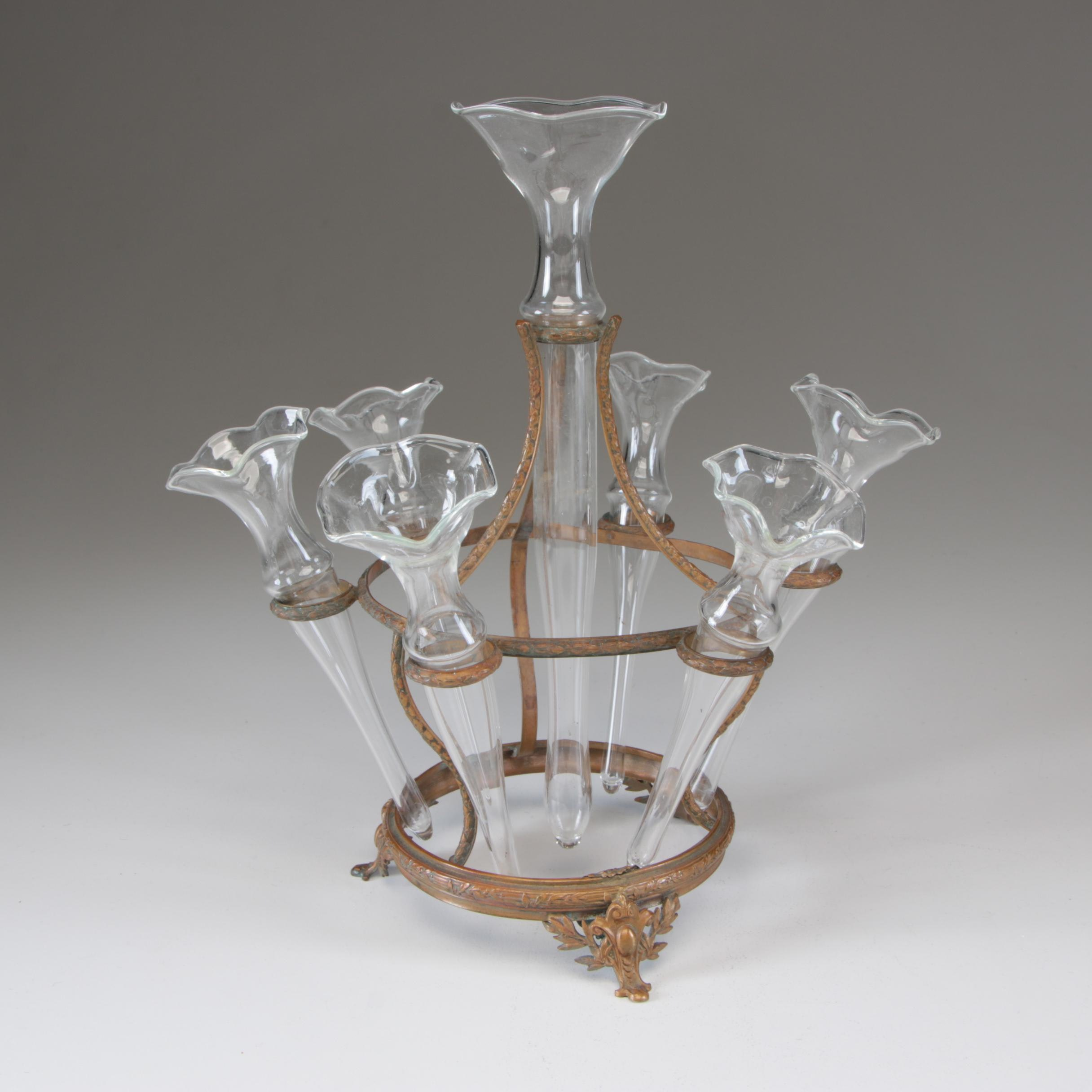 Baroque Revival French Gilt Metal and Blown Glass Epergne, Late 19th Century