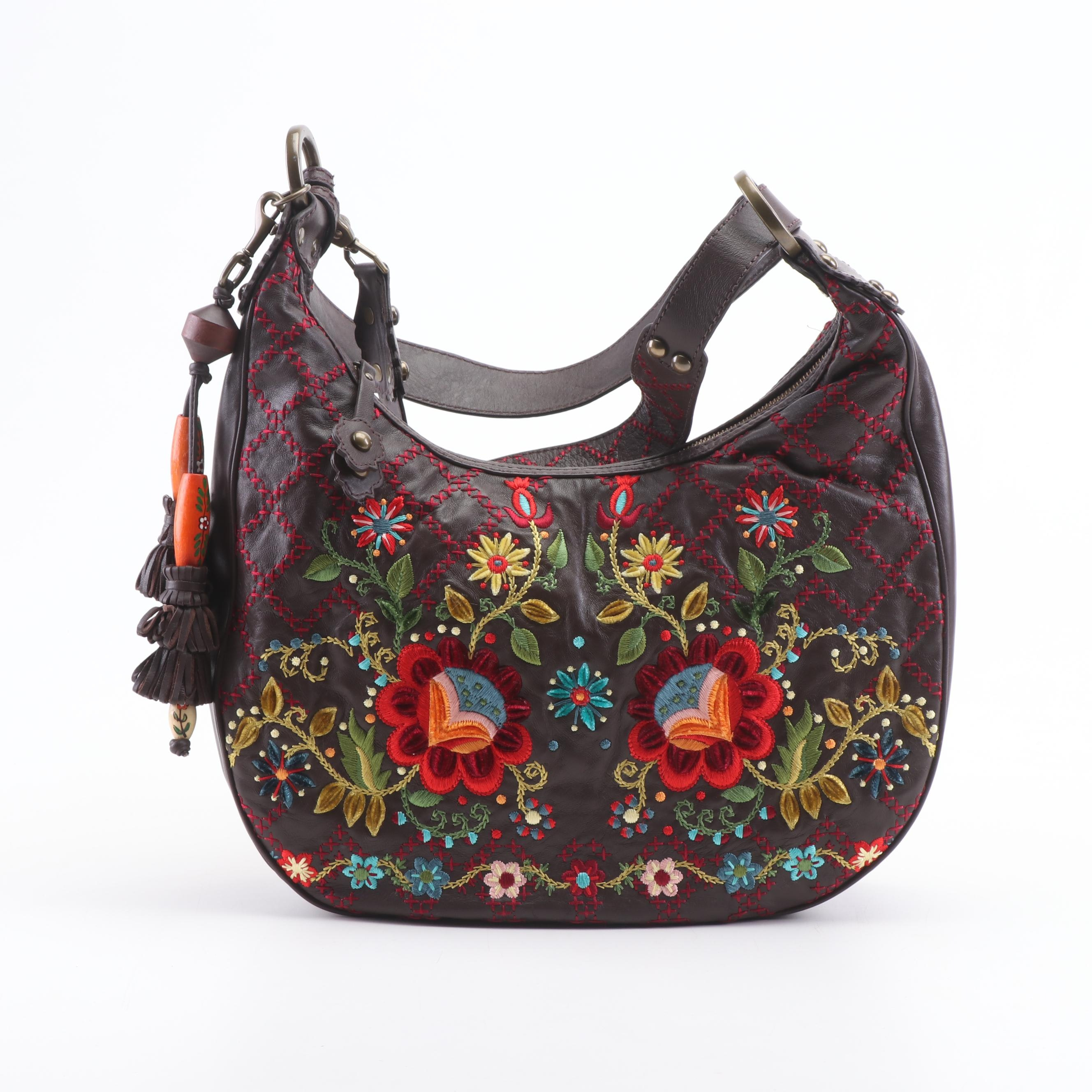 Isabella Fiore Leather and Embroidered Shoulder Bag