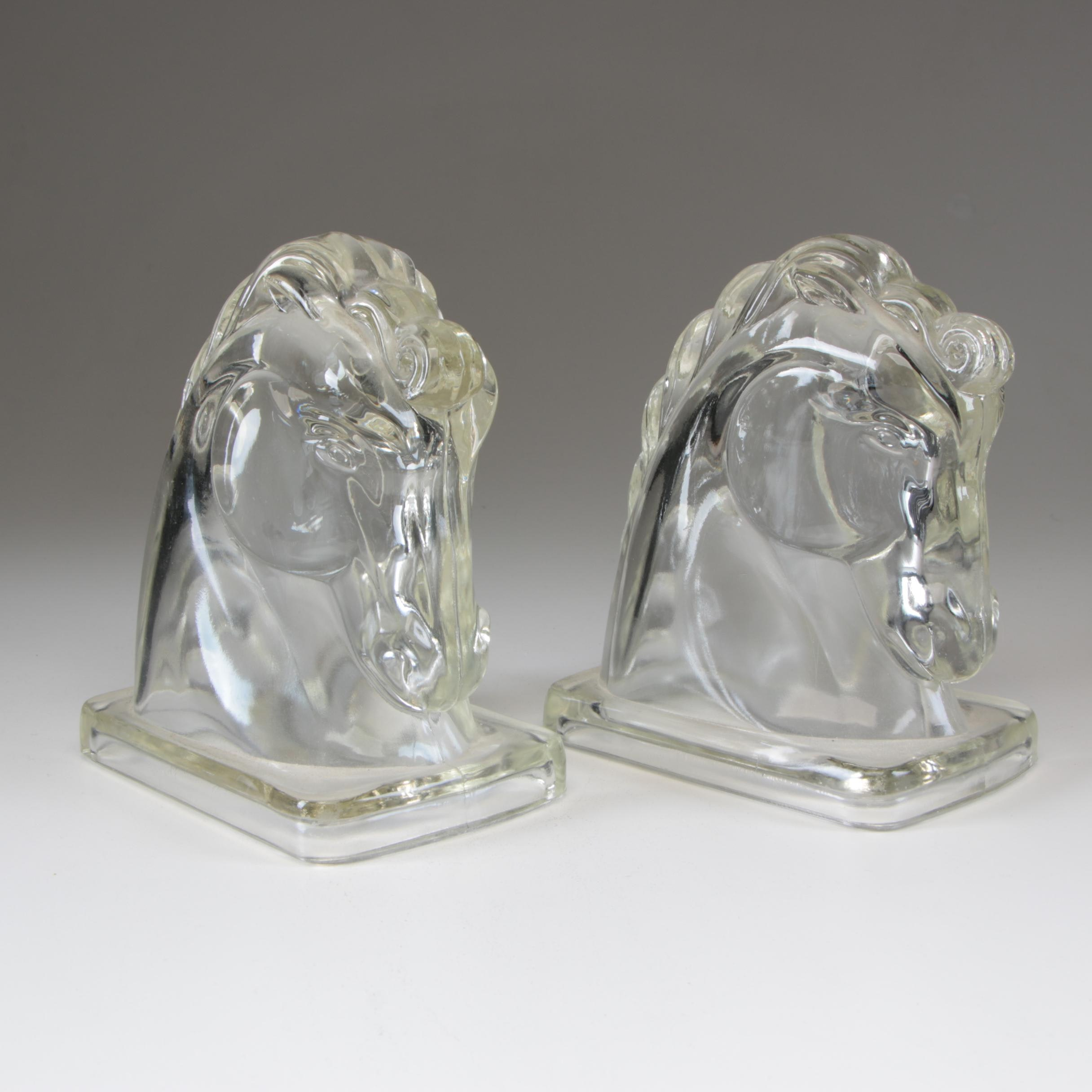 Pressed Glass Horse Bookends Attributed to Federal Glass, Circa 1930s
