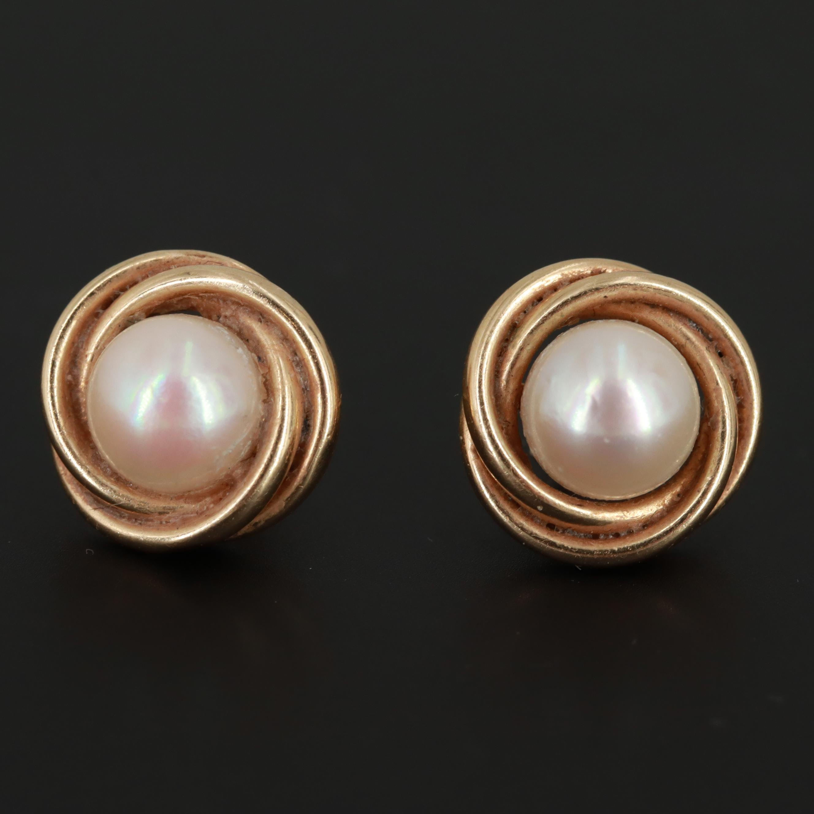 14K Yellow Gold Cultured Pearl Stud Earrings