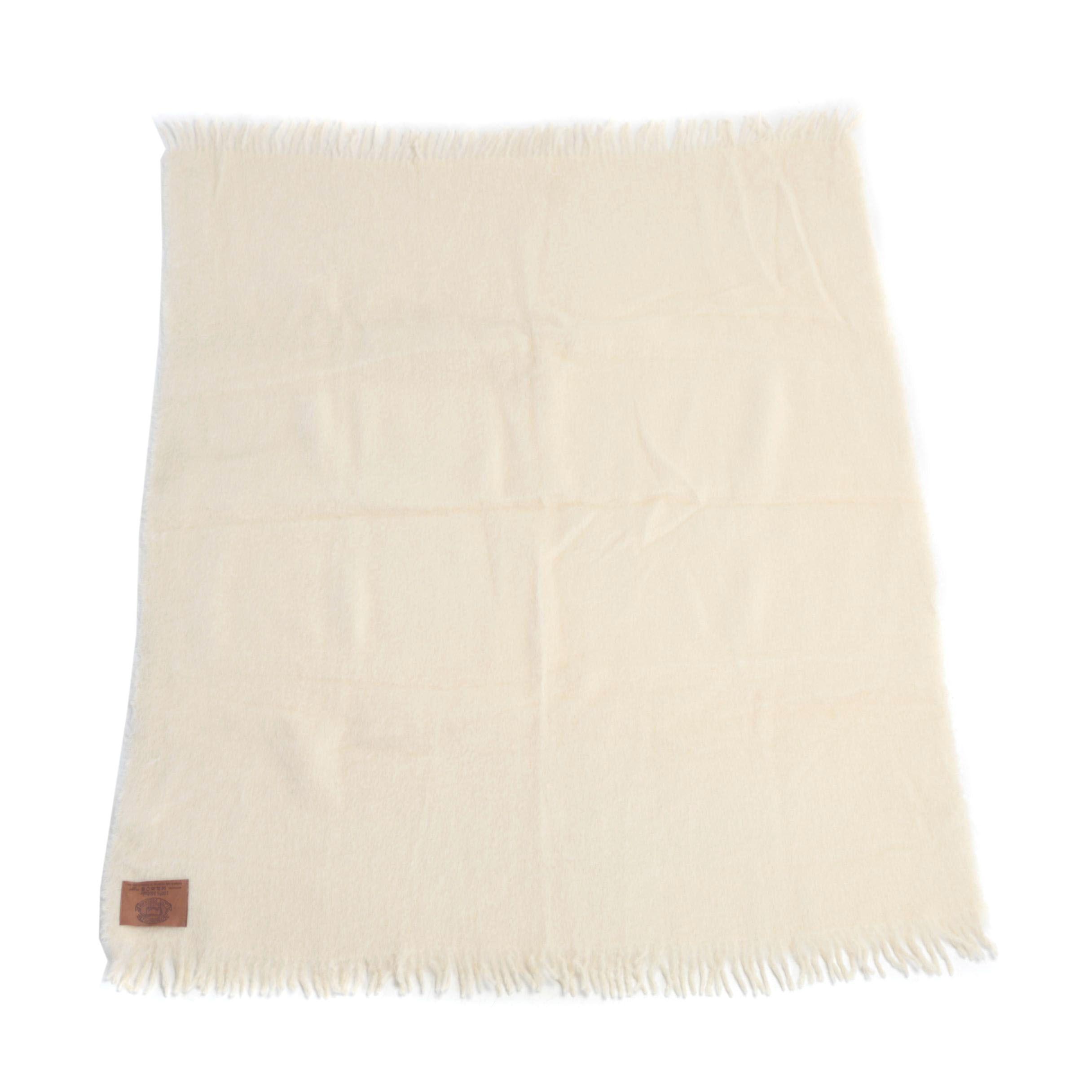 Zambaiti Italian Made Cream Mohair Throw Blanket