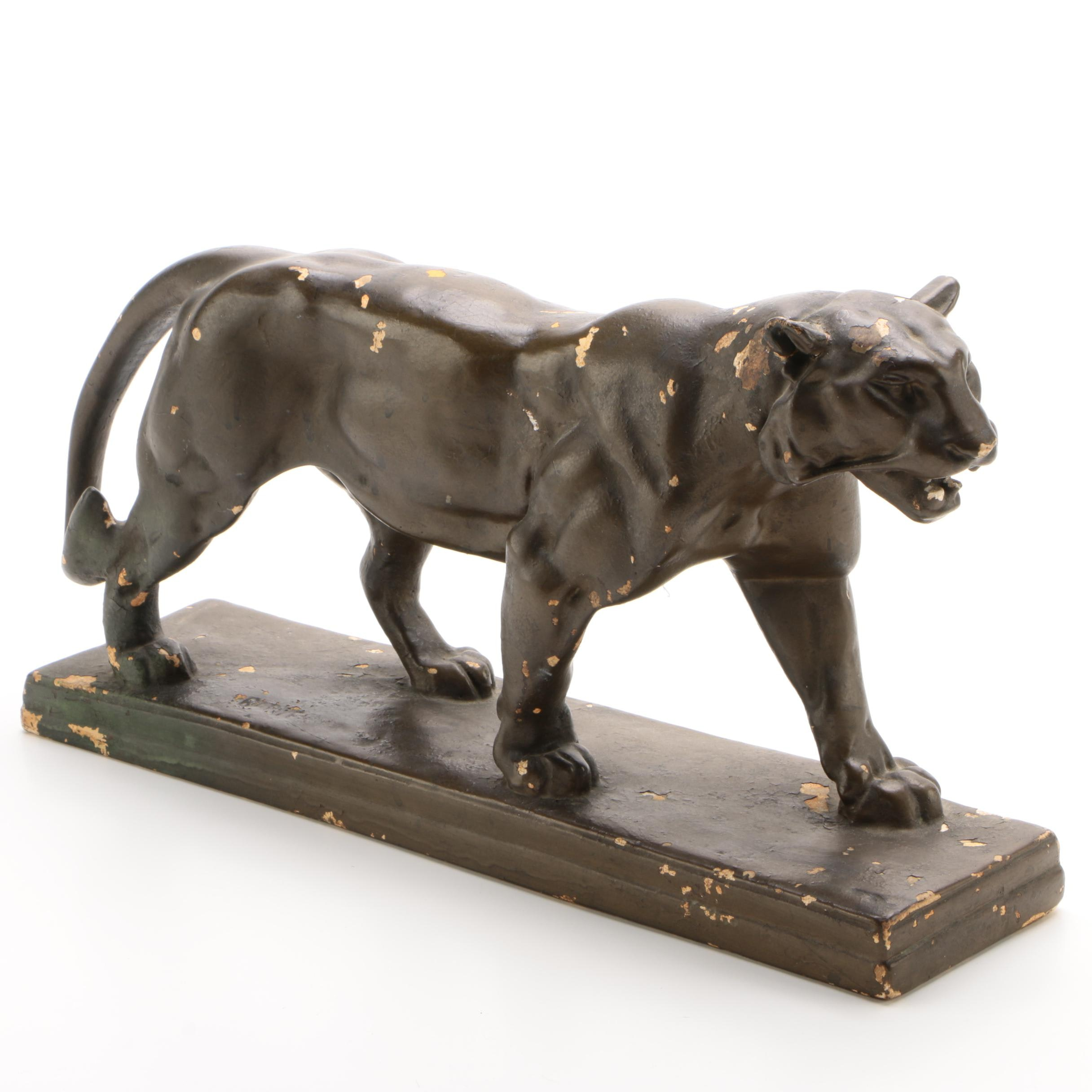 "Plaster Sculpture After Antoine-Louis Barye ""Walking Tiger"", Mid-Century"