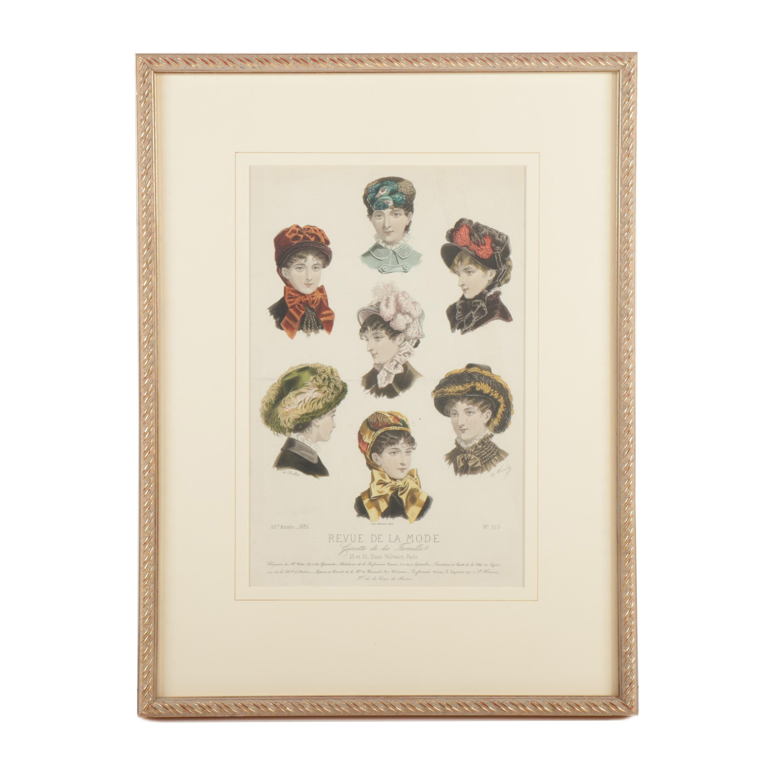 19th Century French Hat Styles Illustration Engraving