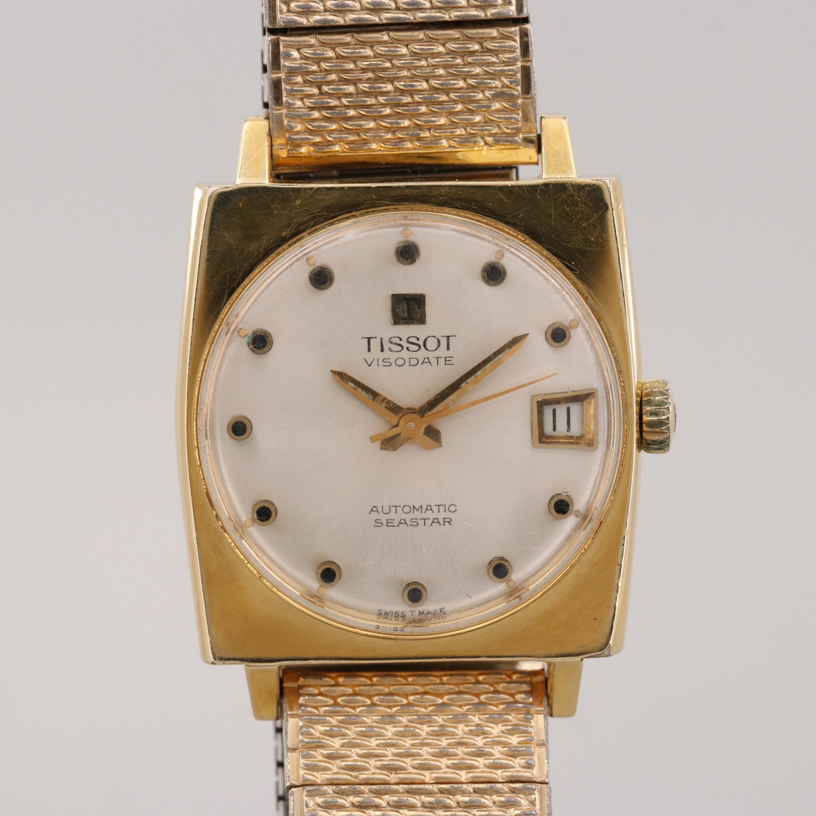 Vintage Tissot Seastar Visodate Gold Tone Automatic Wristwatch